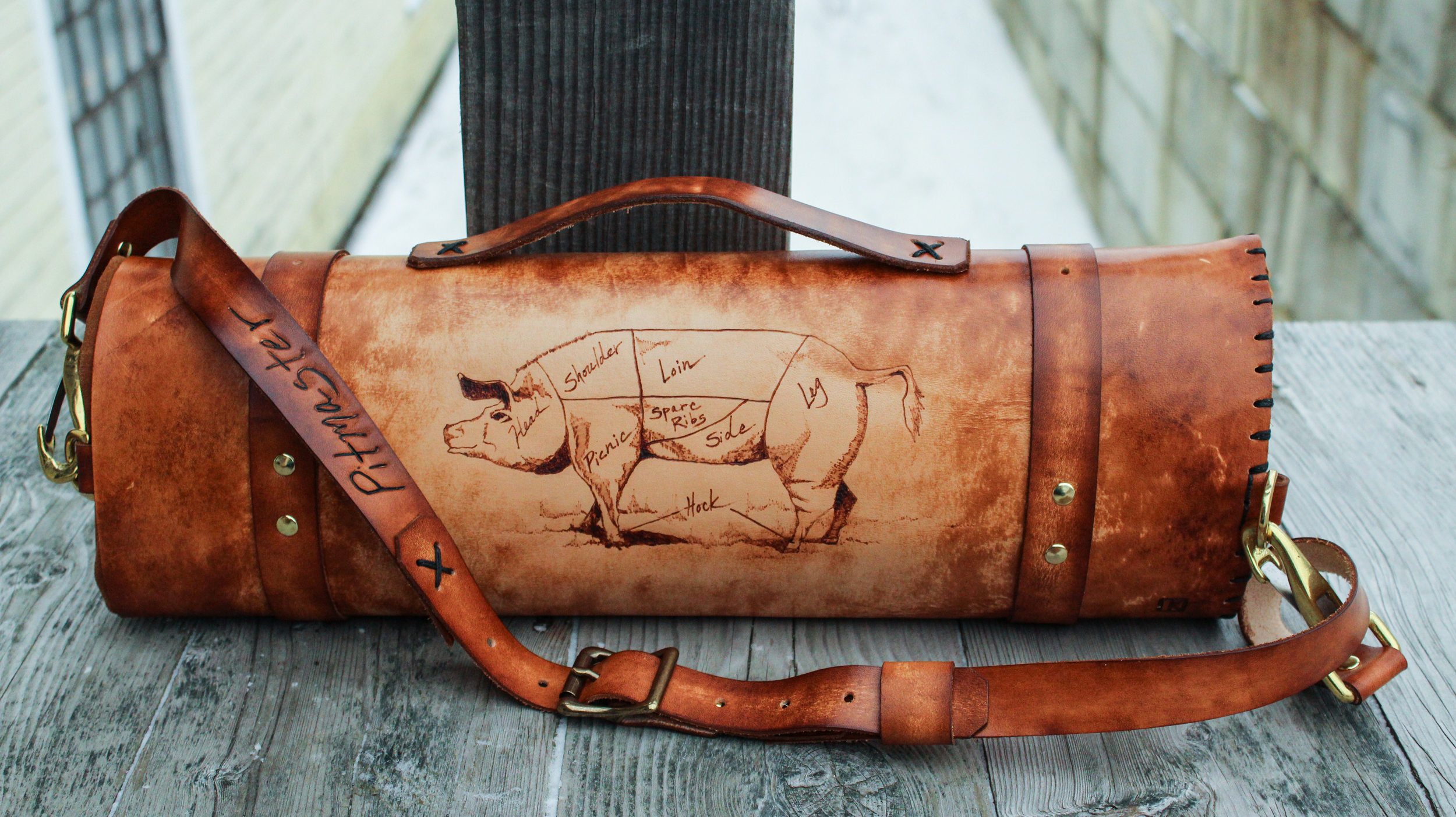 84132ac13a0 Long horn cow and pig leather knife roll (The Butcher's Knife Roll ...