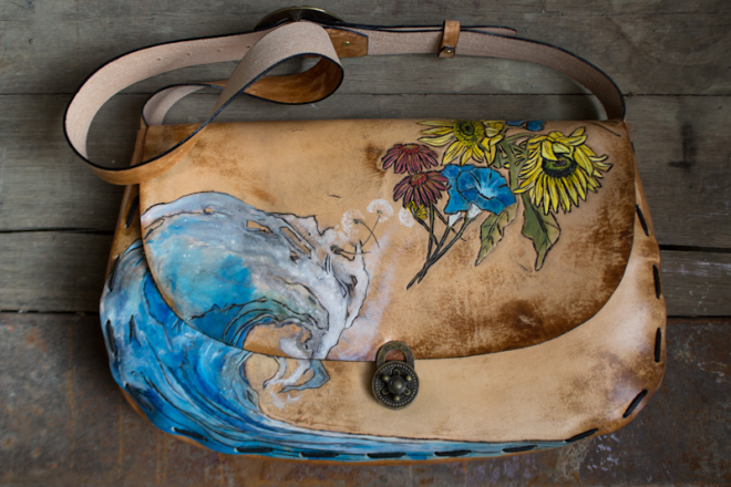 Water to Flowers custom leather bag