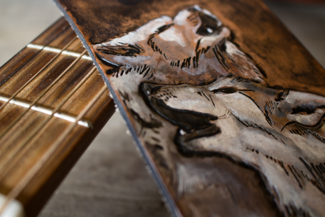 wildlife guitar straps wolves and tiger