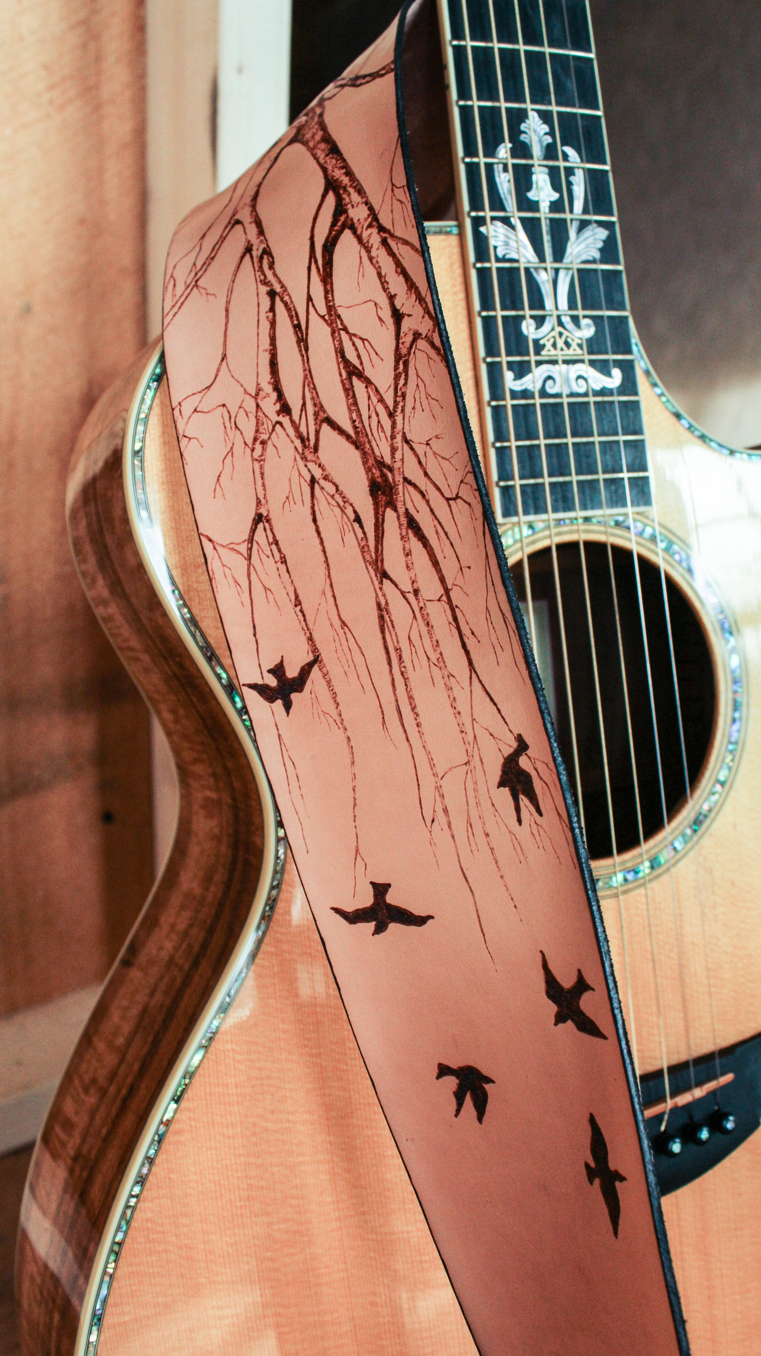 Tree and birds guitar strap