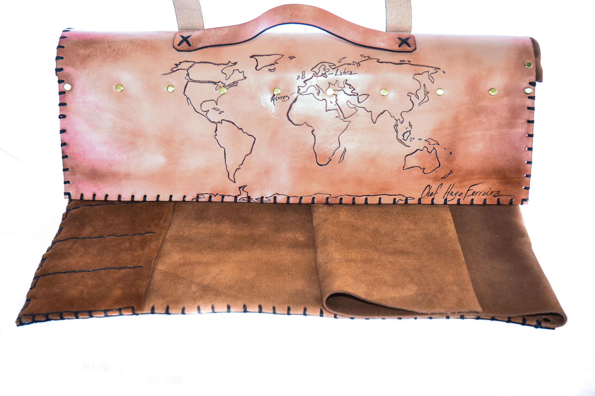 World Map Custom Leather Knife Roll-5