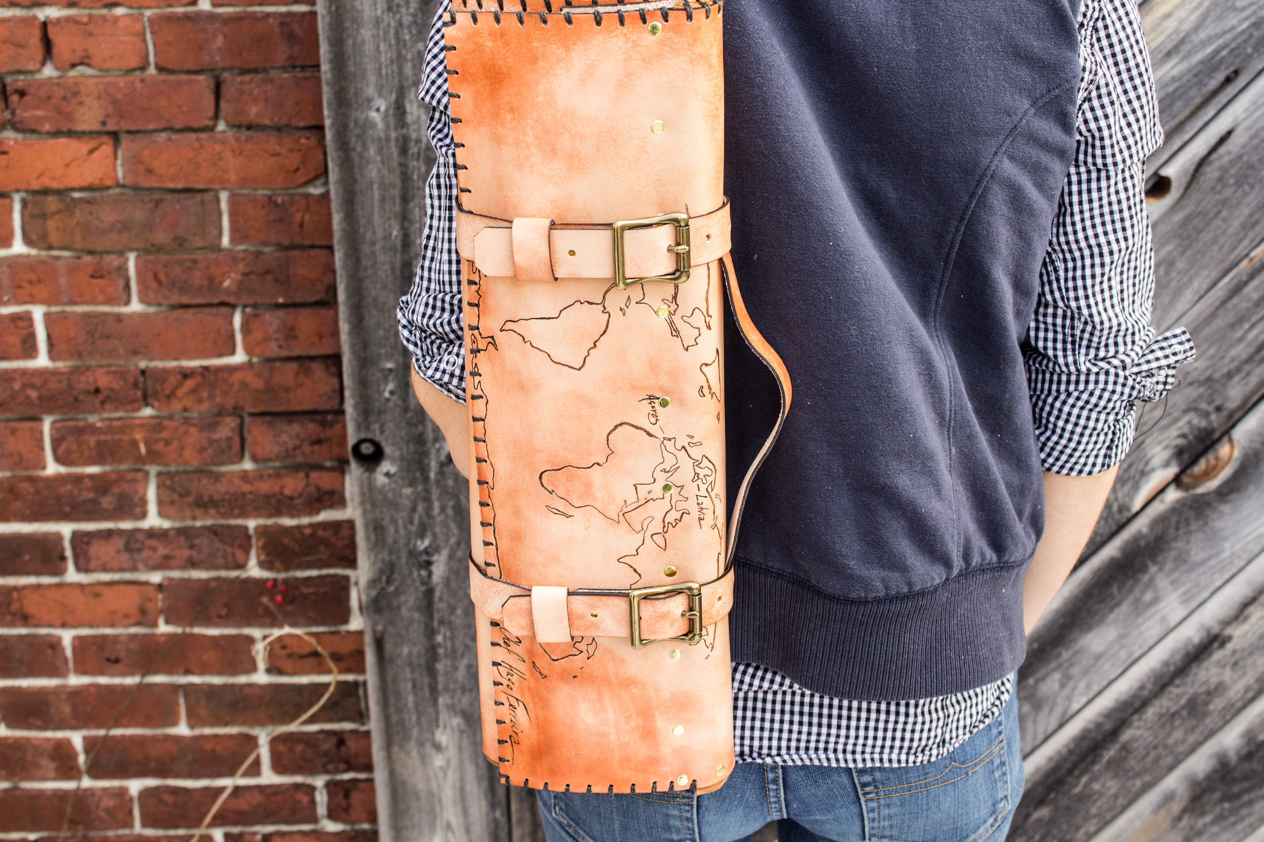 World Map Custom Leather Knife Roll-9