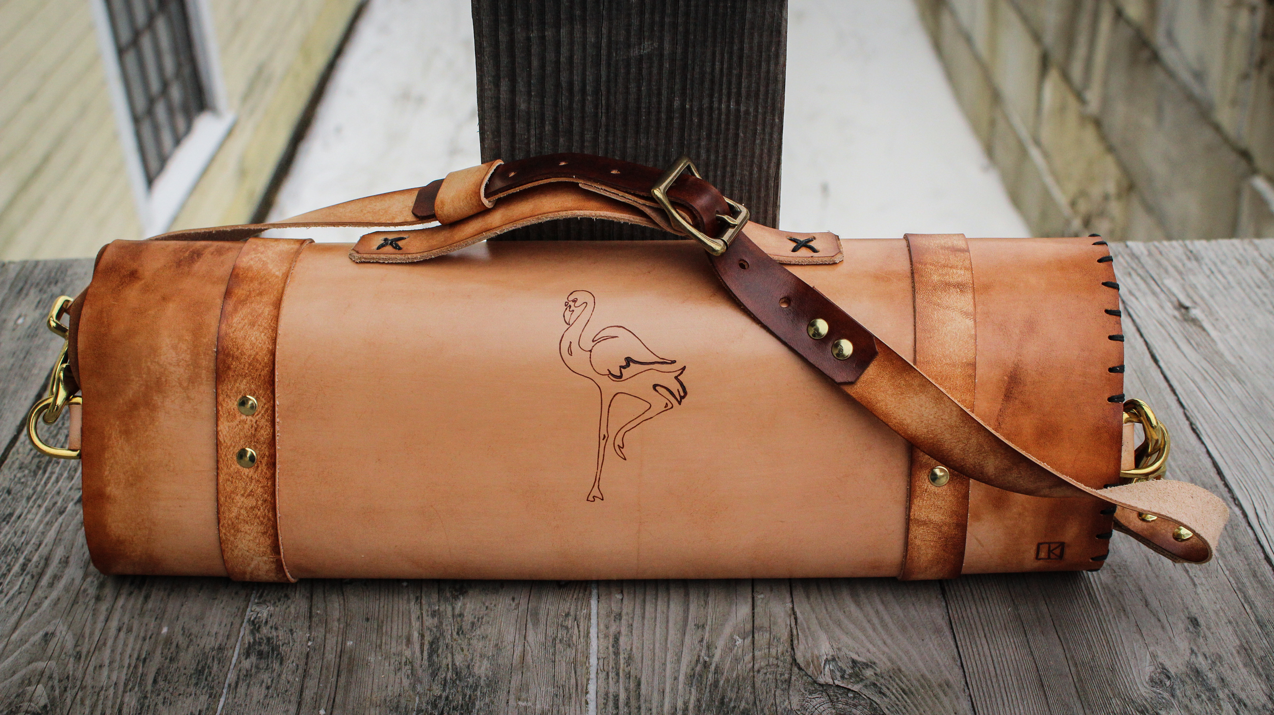 Custom leather knife roll butchers roll