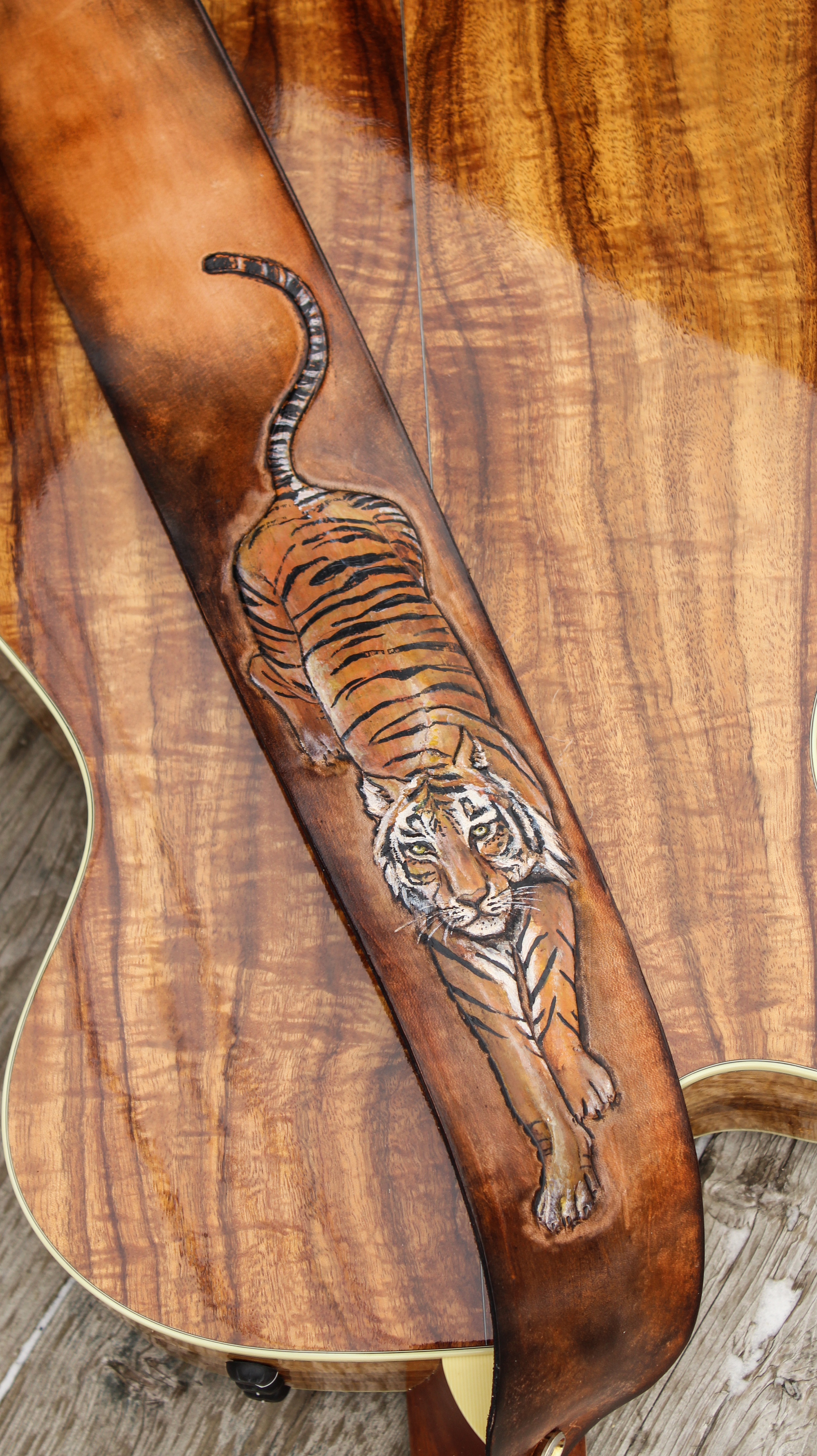 Tooled Tiger on leather guitar strap