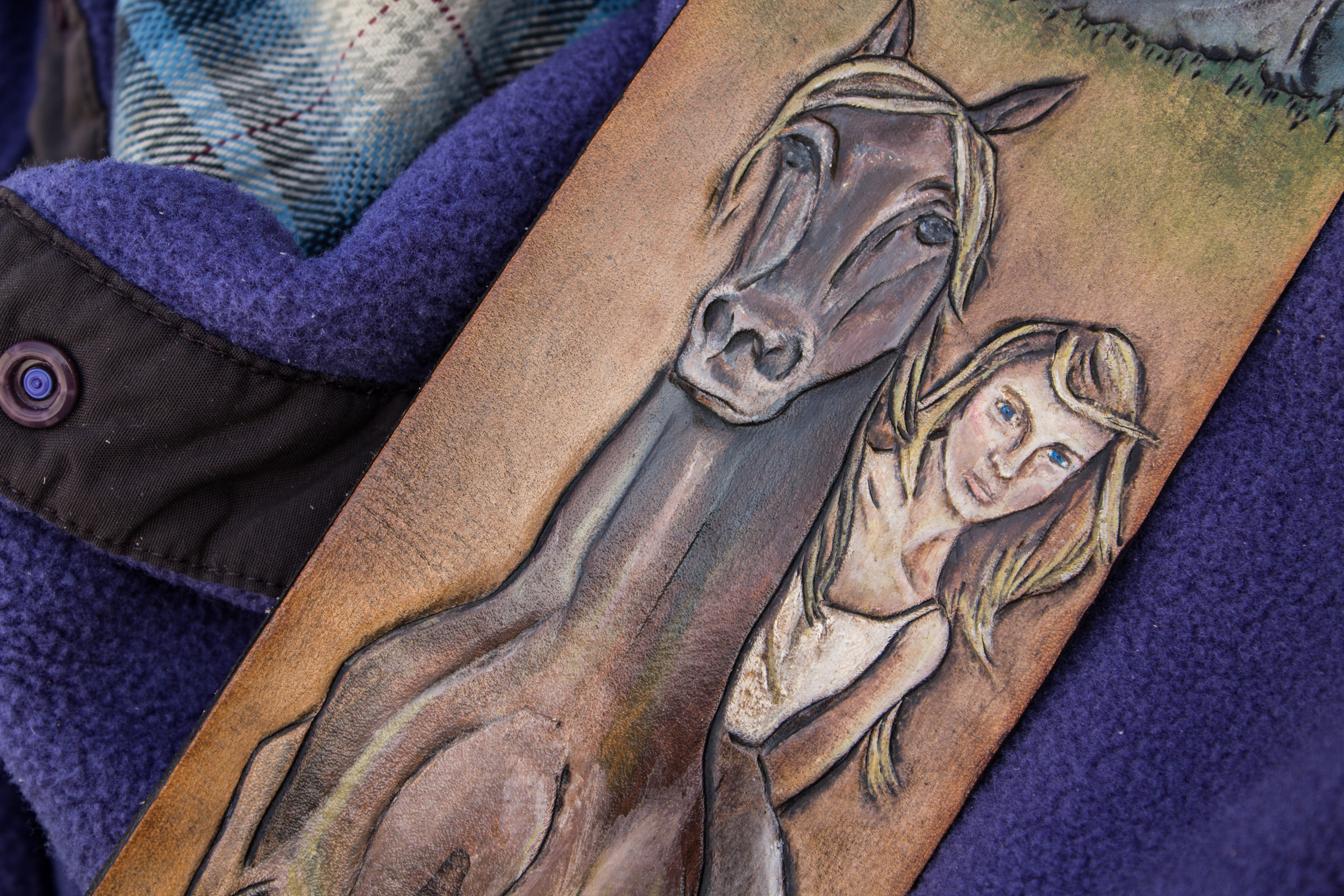 Woman on horse custom leather guitar strap-2