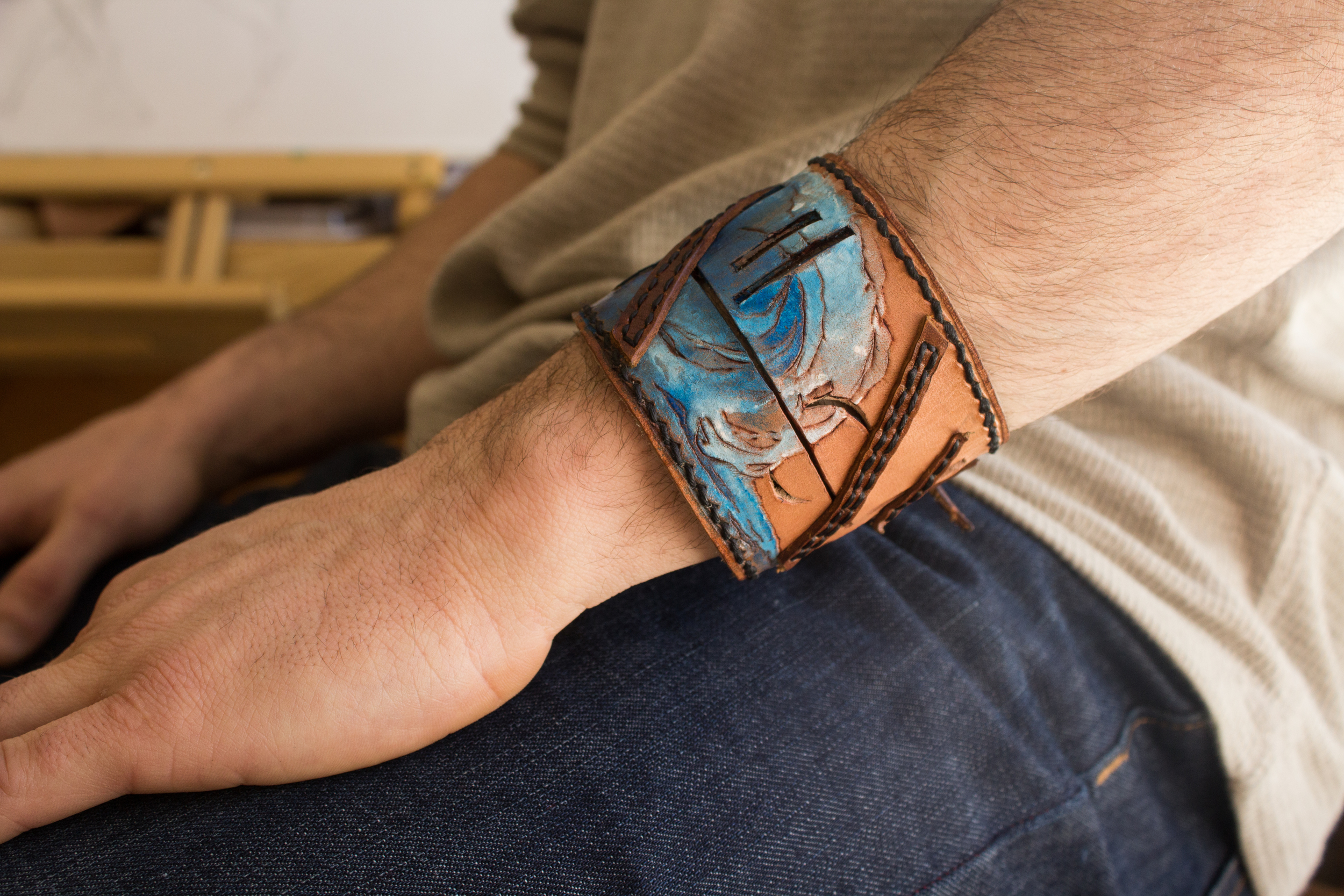 wave leather cuff-3