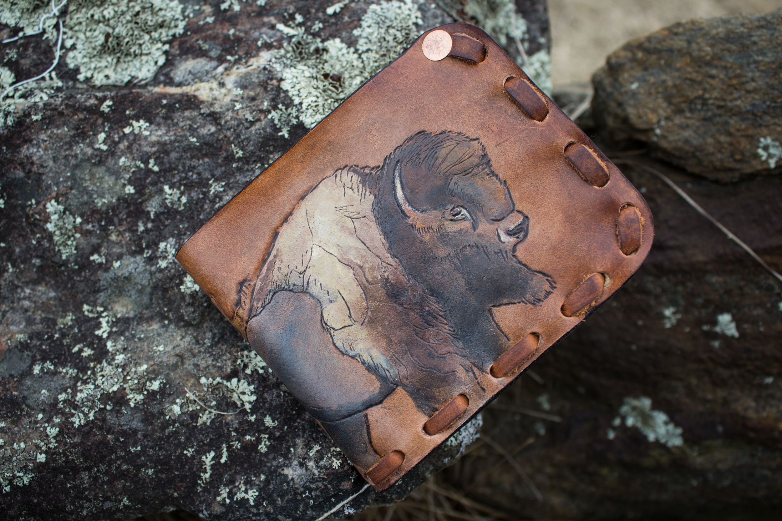 Buffalo and hawk mens custom leather wallet-2