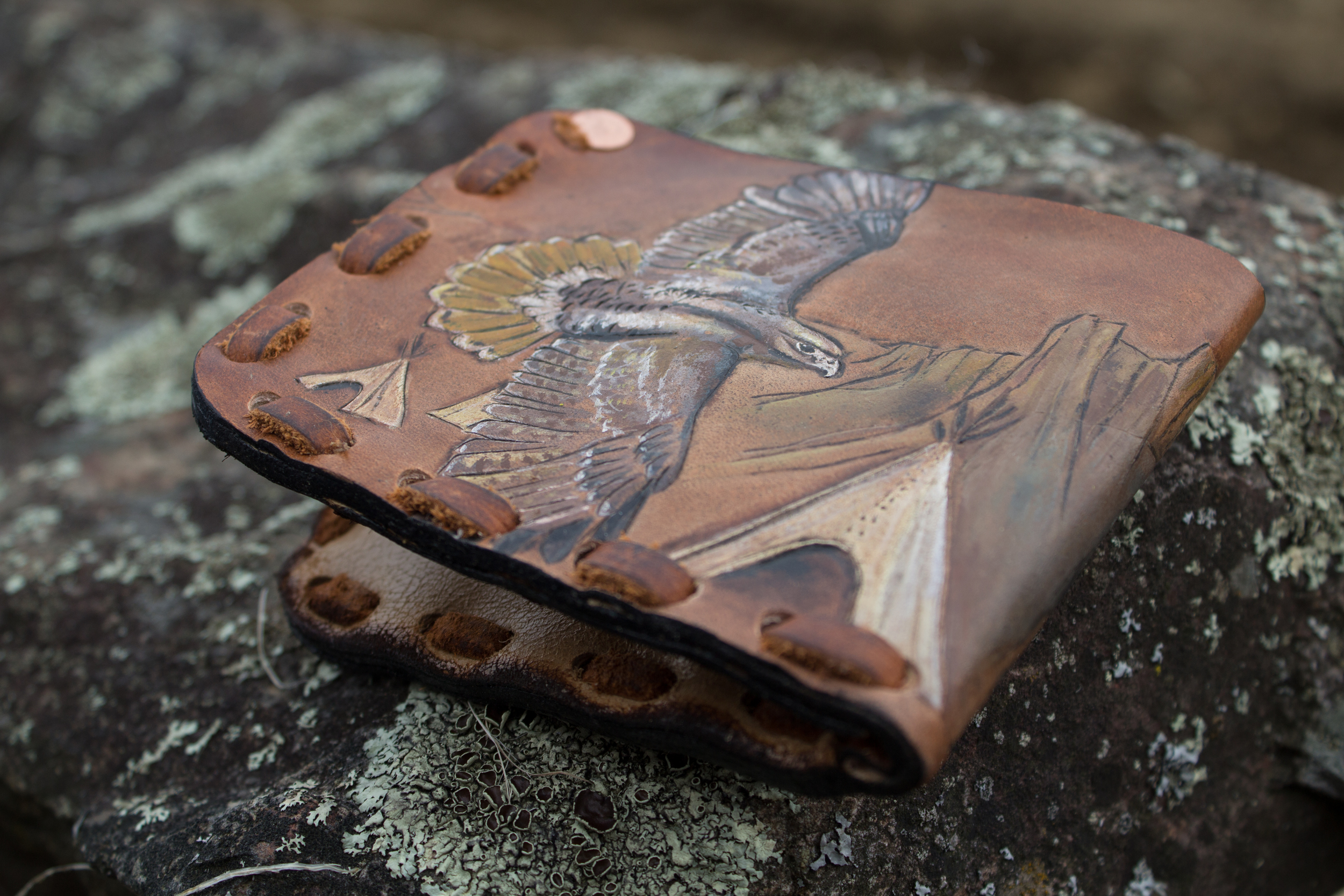 Buffalo and hawk mens custom leather wallet-4