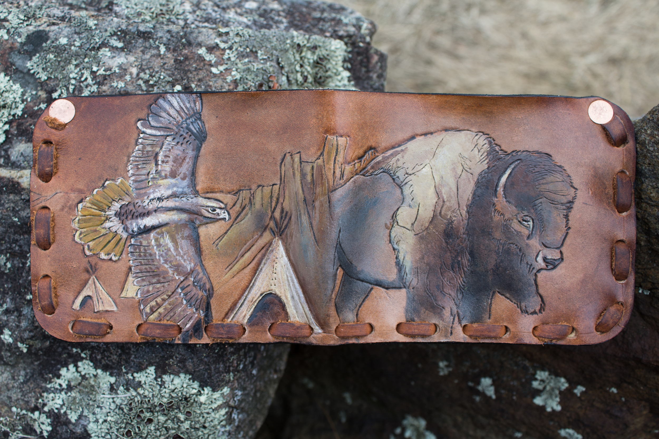 Buffalo and hawk mens custom leather wallet-8