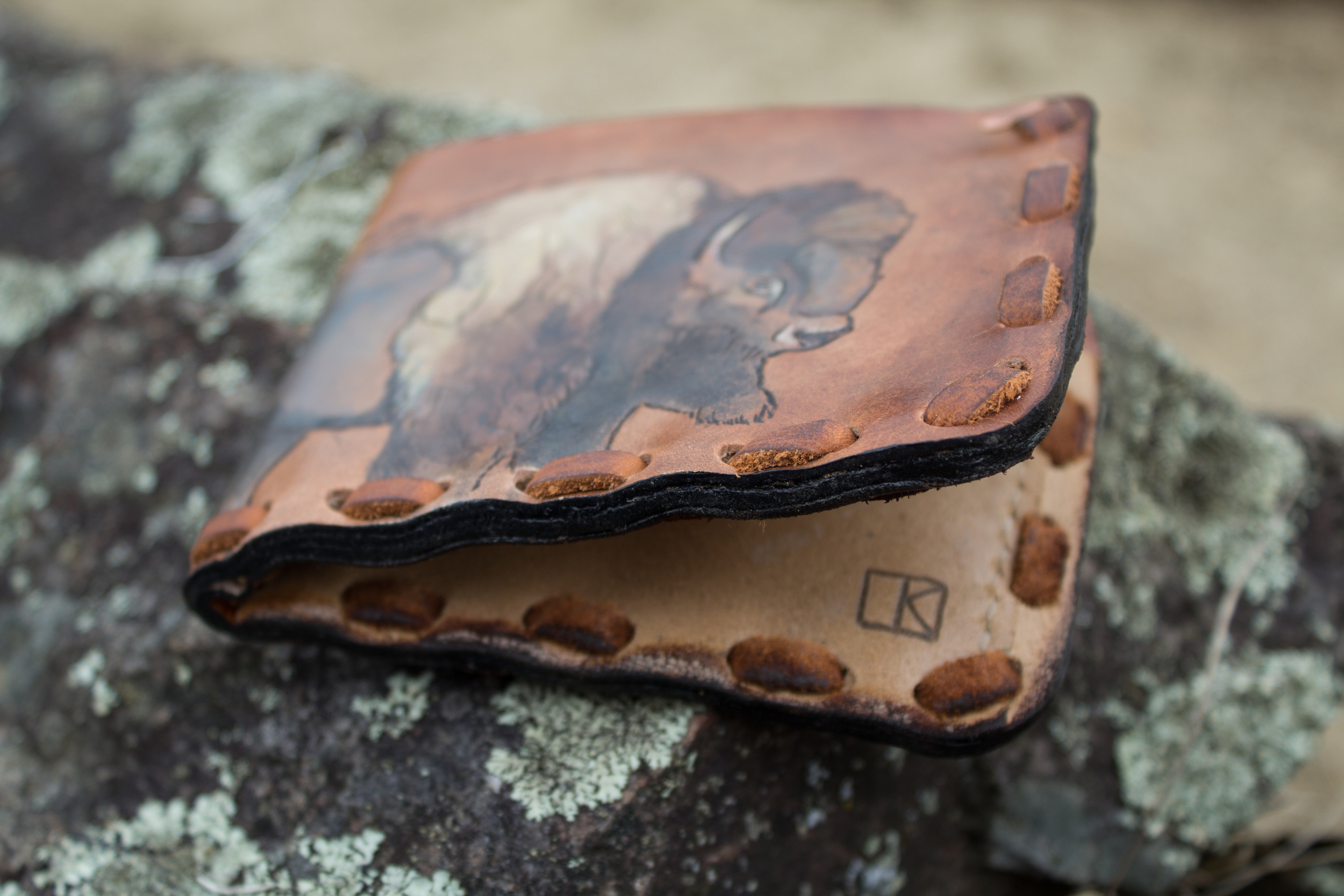 Buffalo and hawk mens custom leather wallet