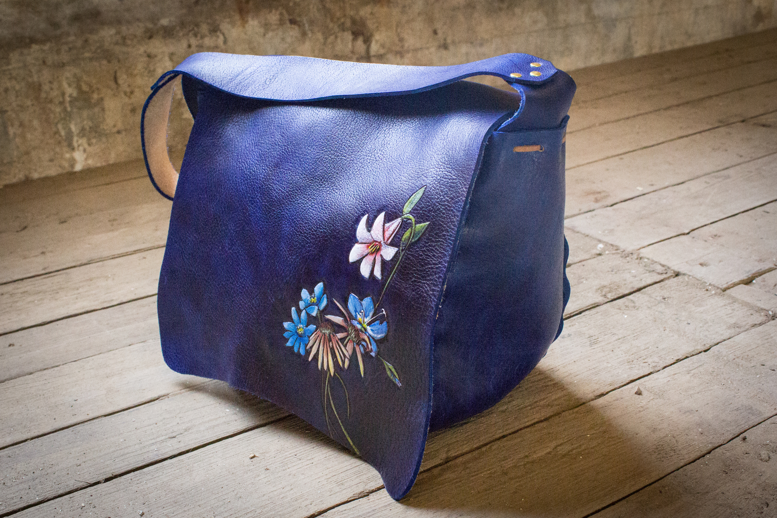 Blue Leather Tote Bag with flowers