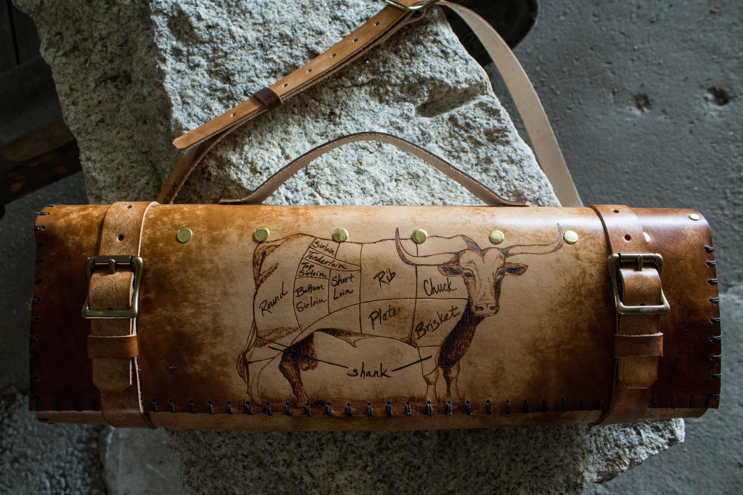Longhorn bull leather knife roll-4