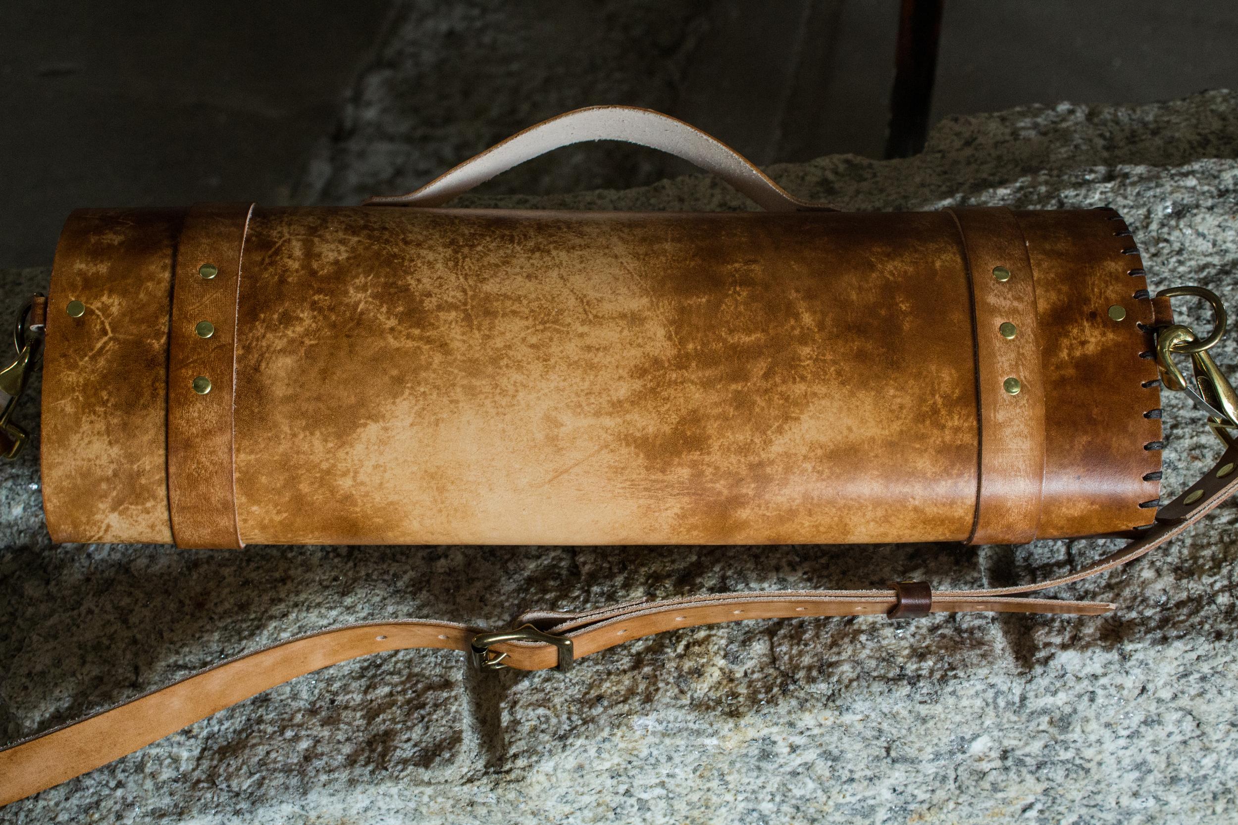 Longhorn bull leather knife roll-7