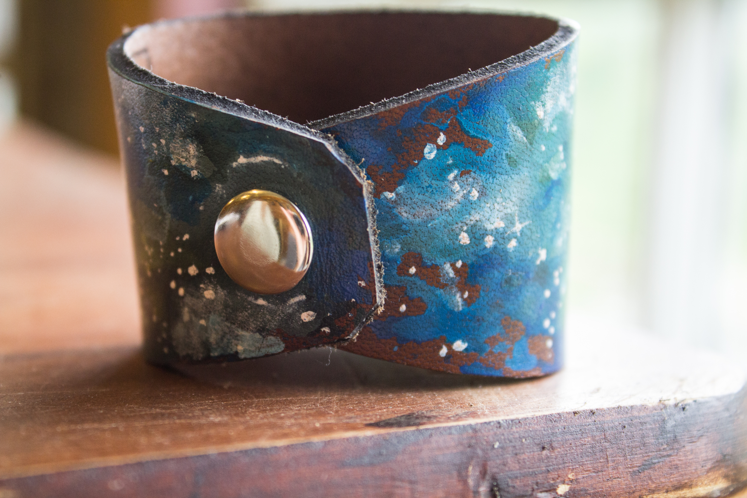 Crescent moon leather cuff-10