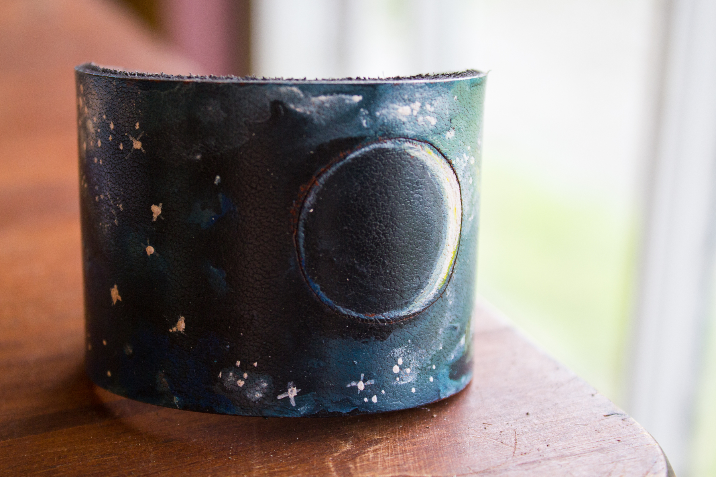 Crescent moon leather cuff-11