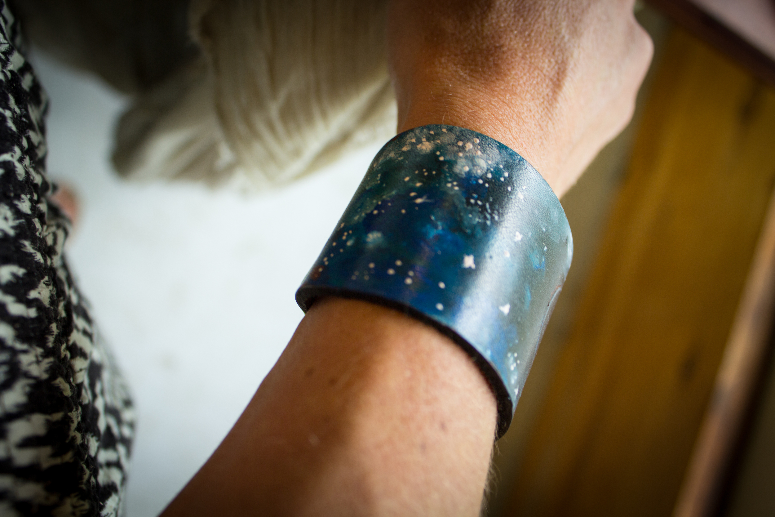 Crescent moon leather cuff-2
