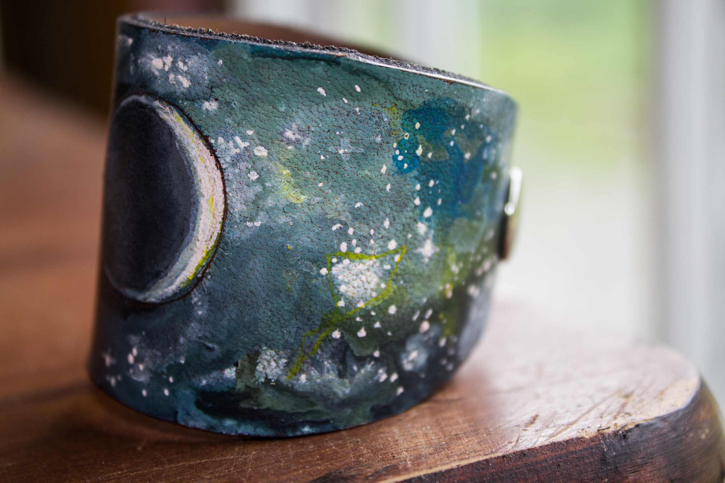 Crescent moon leather cuff-9