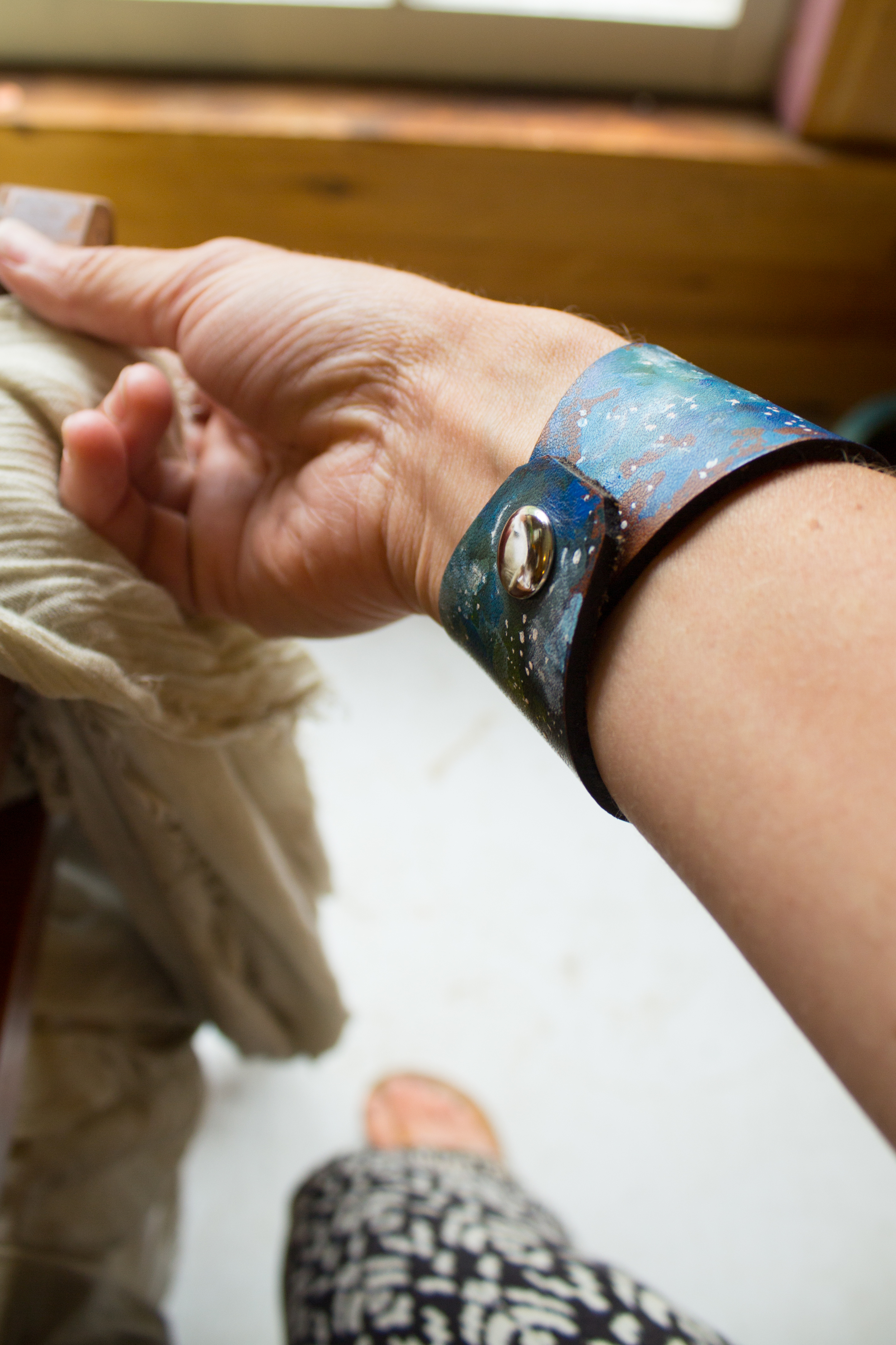 Crescent moon leather cuff