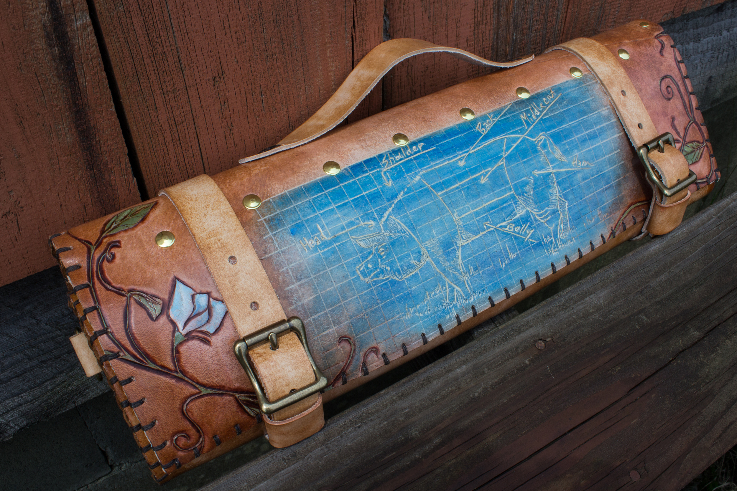 Blueprint Custom Leather Knife Roll-2
