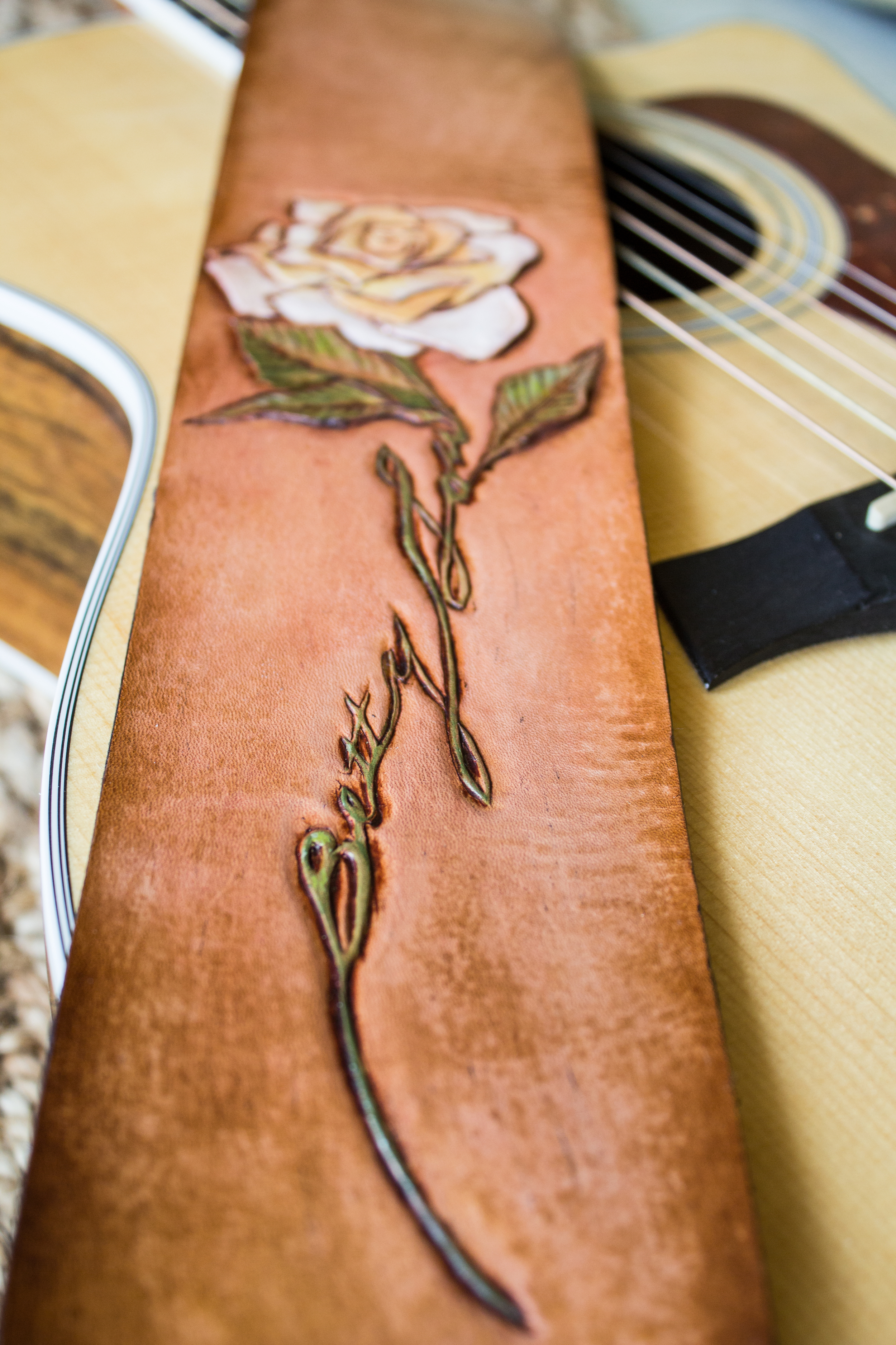 Rose custom leather guitar strap-10