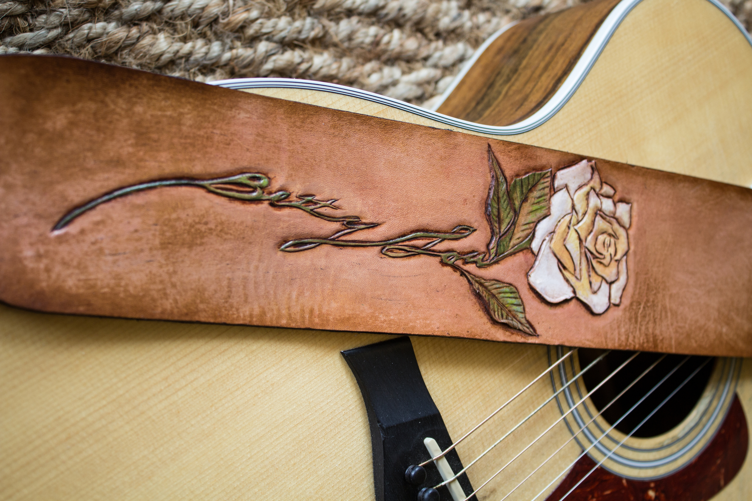 Rose custom leather guitar strap-11