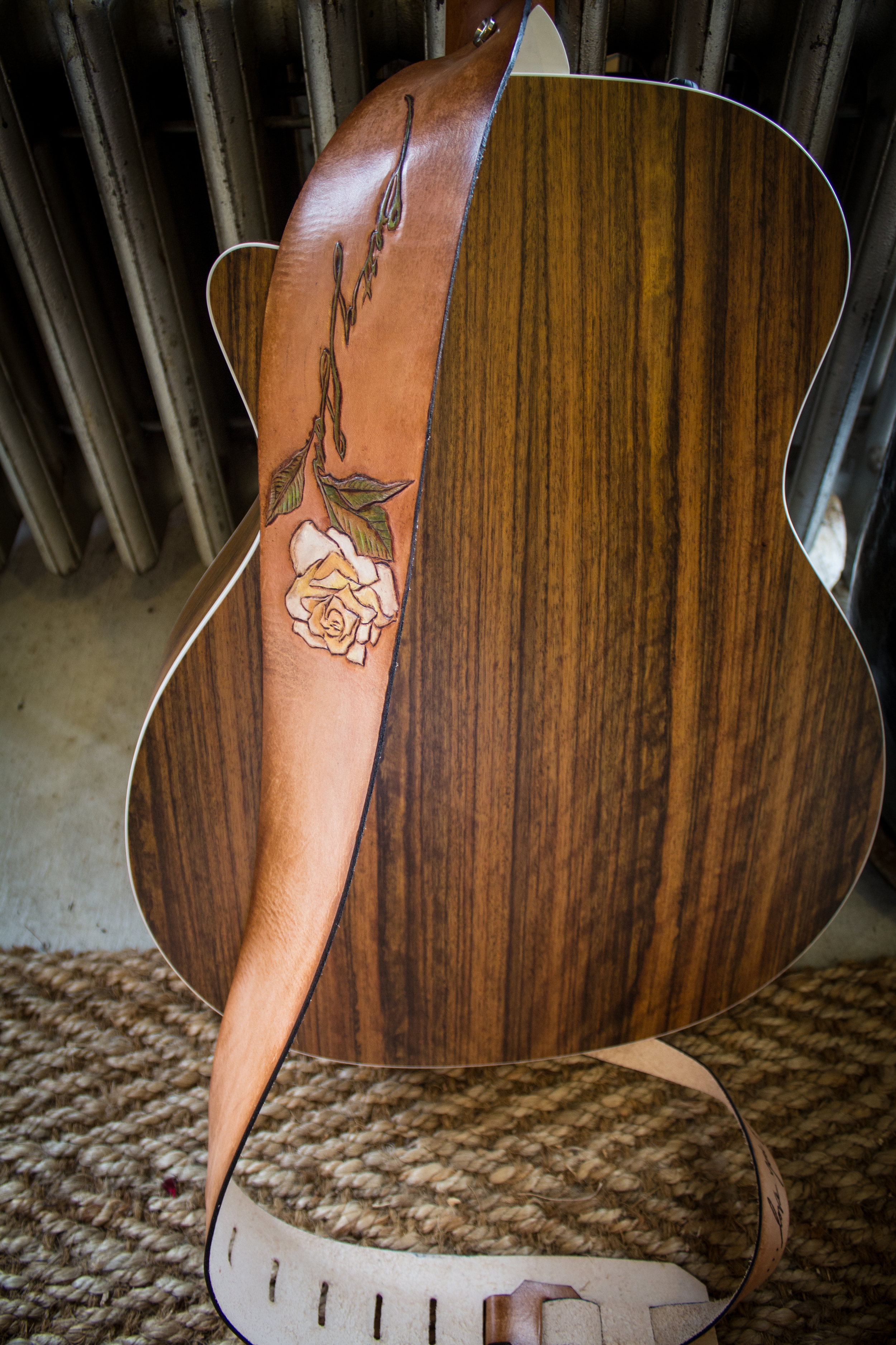 Rose custom leather guitar strap-5