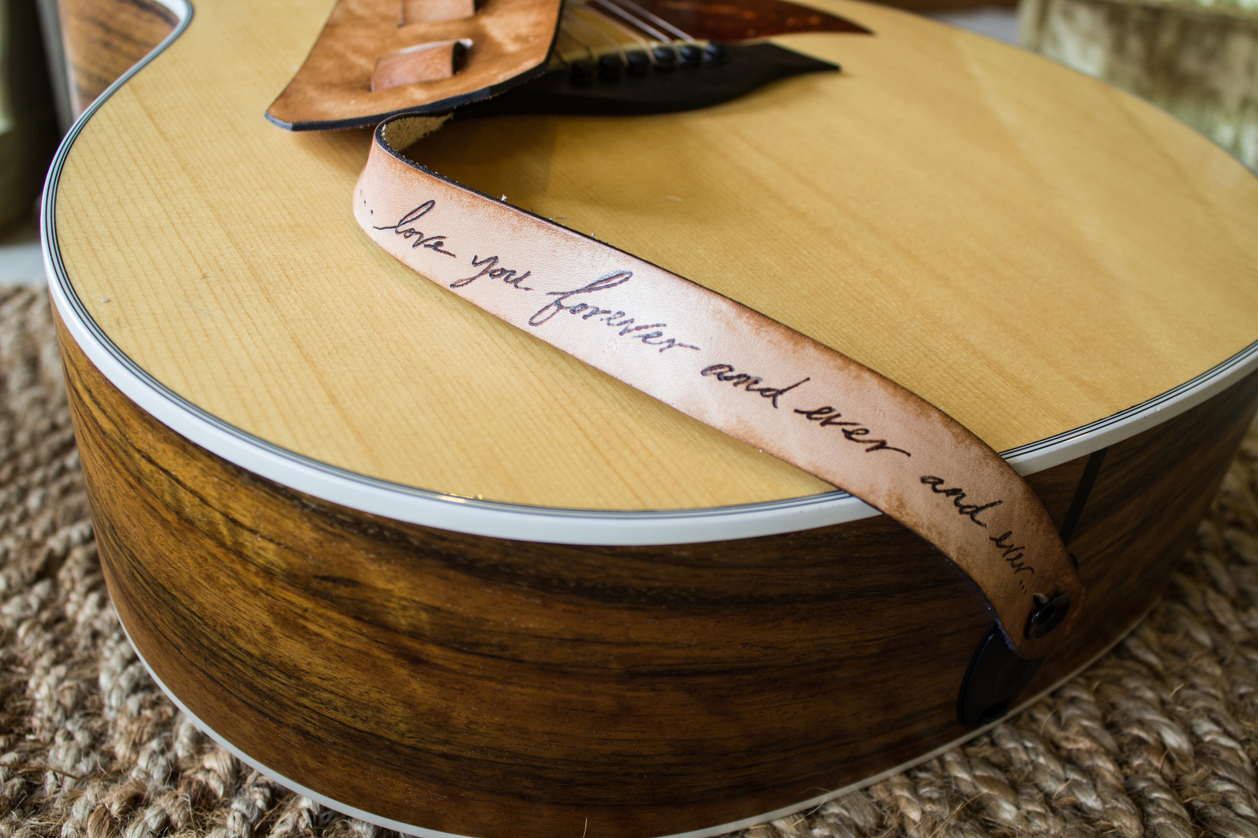Rose custom leather guitar strap-6