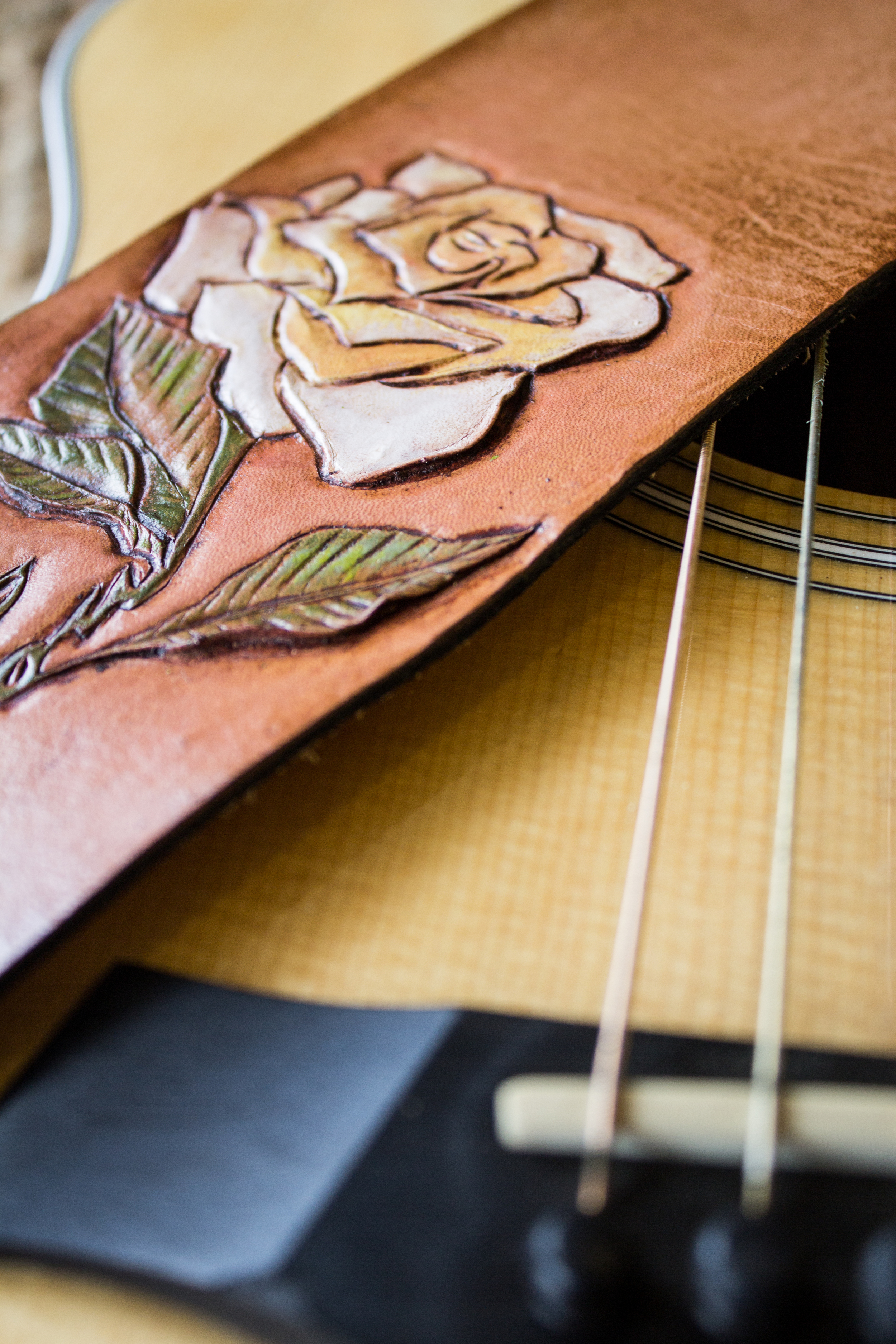 Rose custom leather guitar strap-9