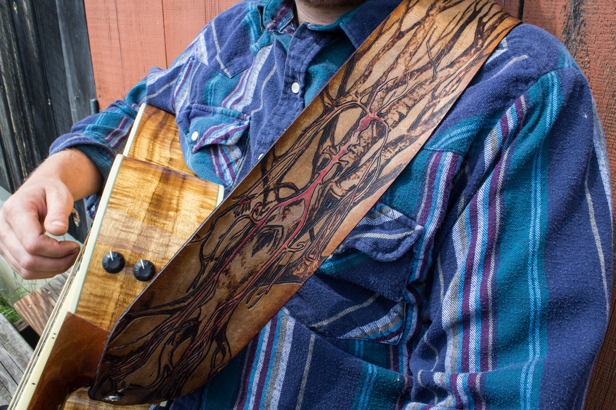 Vascular System in Tree Custom Leather Guitar Strap-5