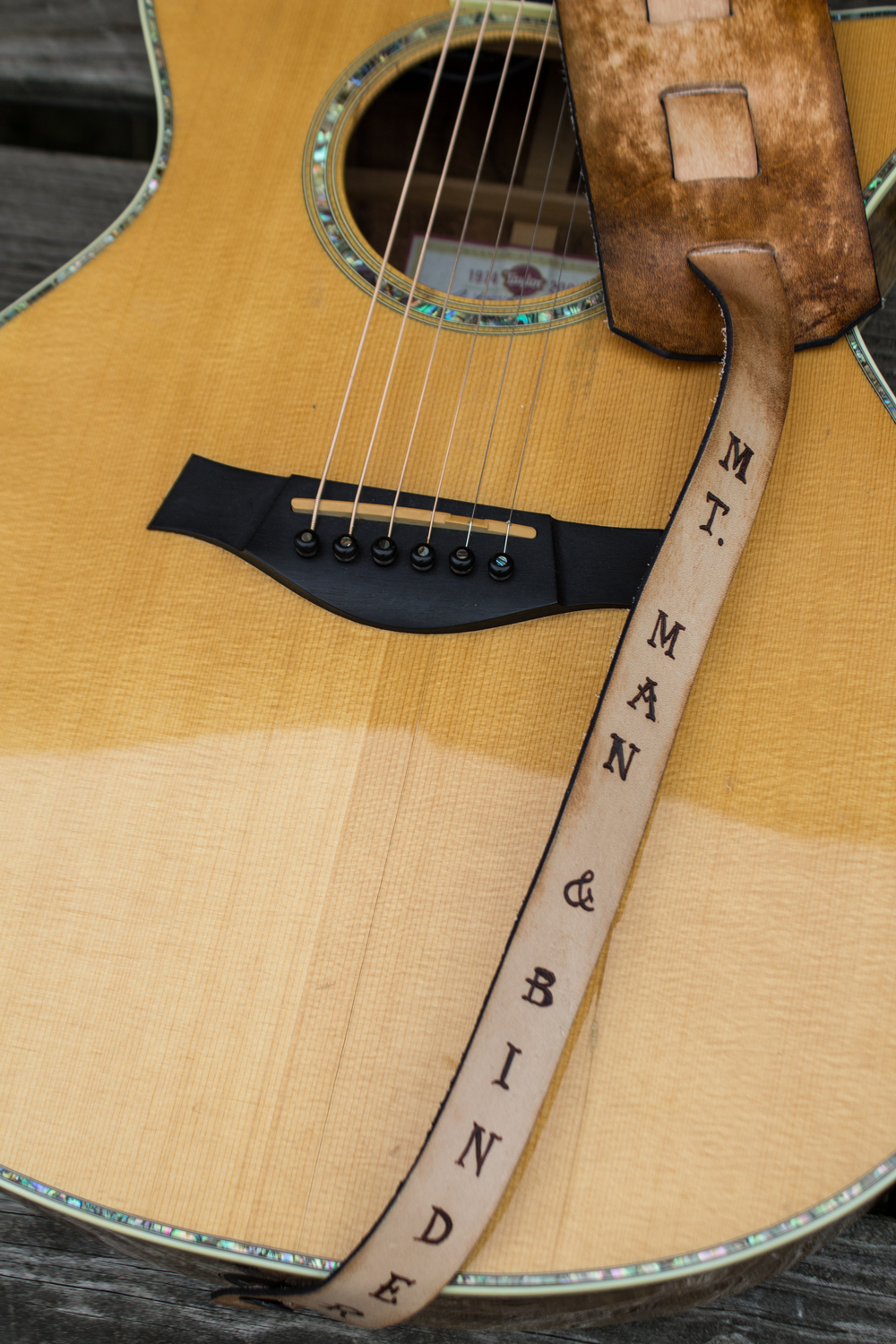 Custom Leather Guitar Strap Mt Man and Binder-10