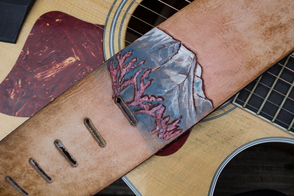 Custom Leather Guitar Strap Mt Man and Binder-8
