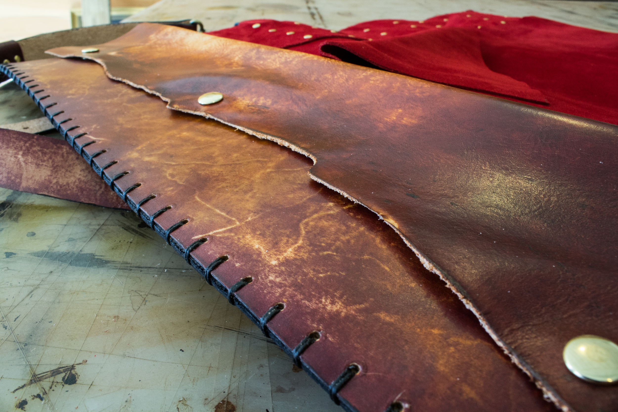 Custom Leather Knife Roll Viking-12