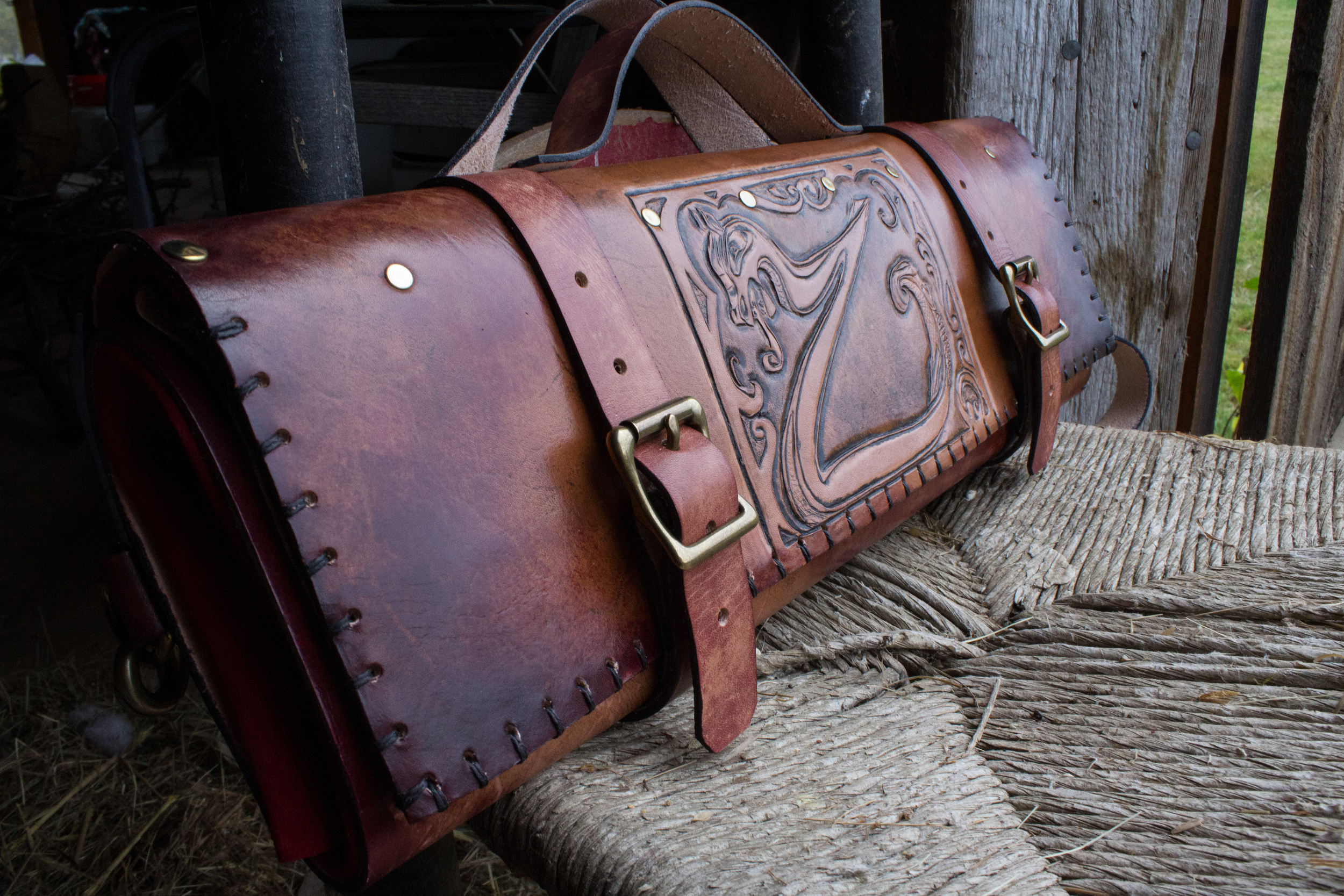 Custom Leather Knife Roll Viking