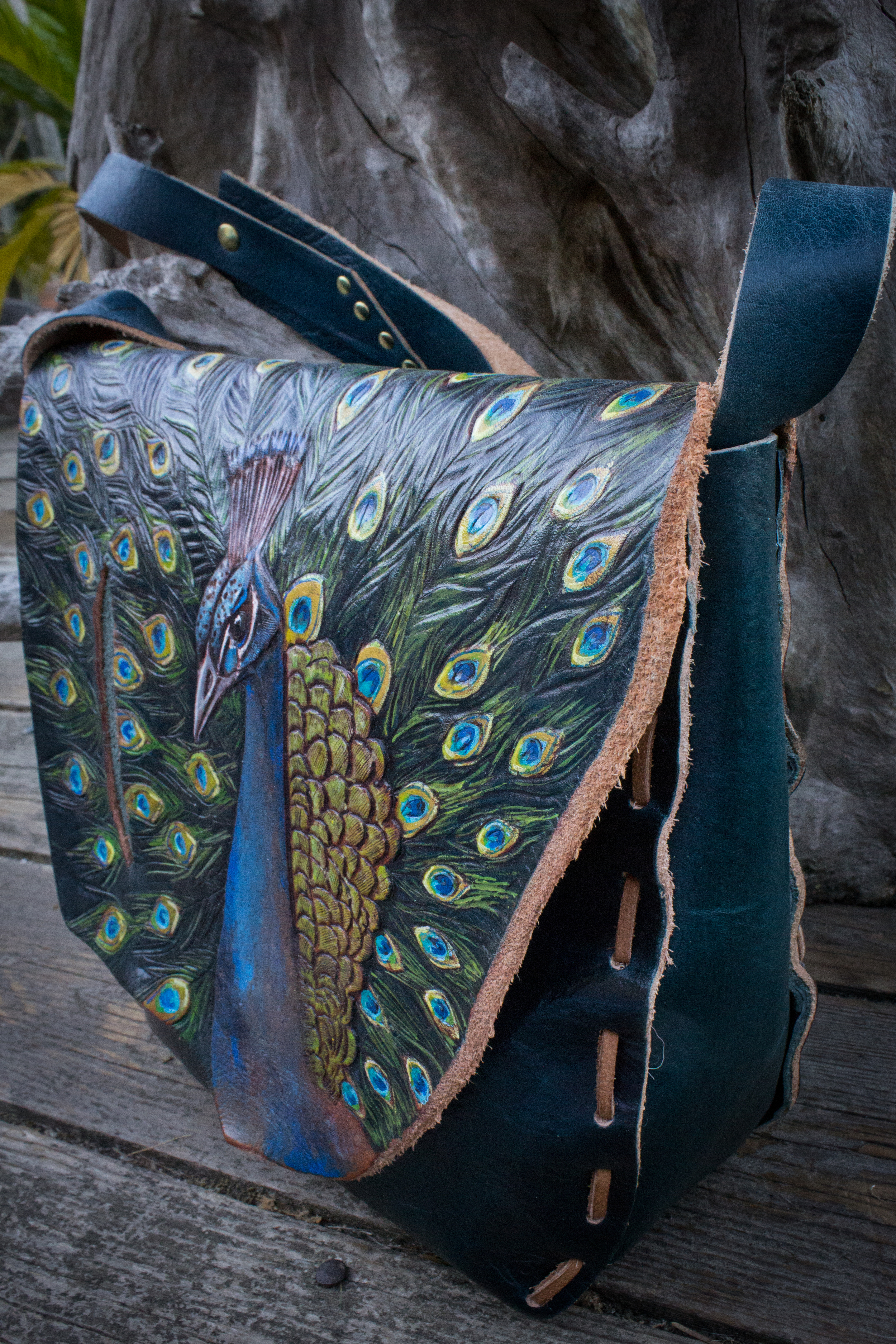 Peacock Purse Custom Leather-10