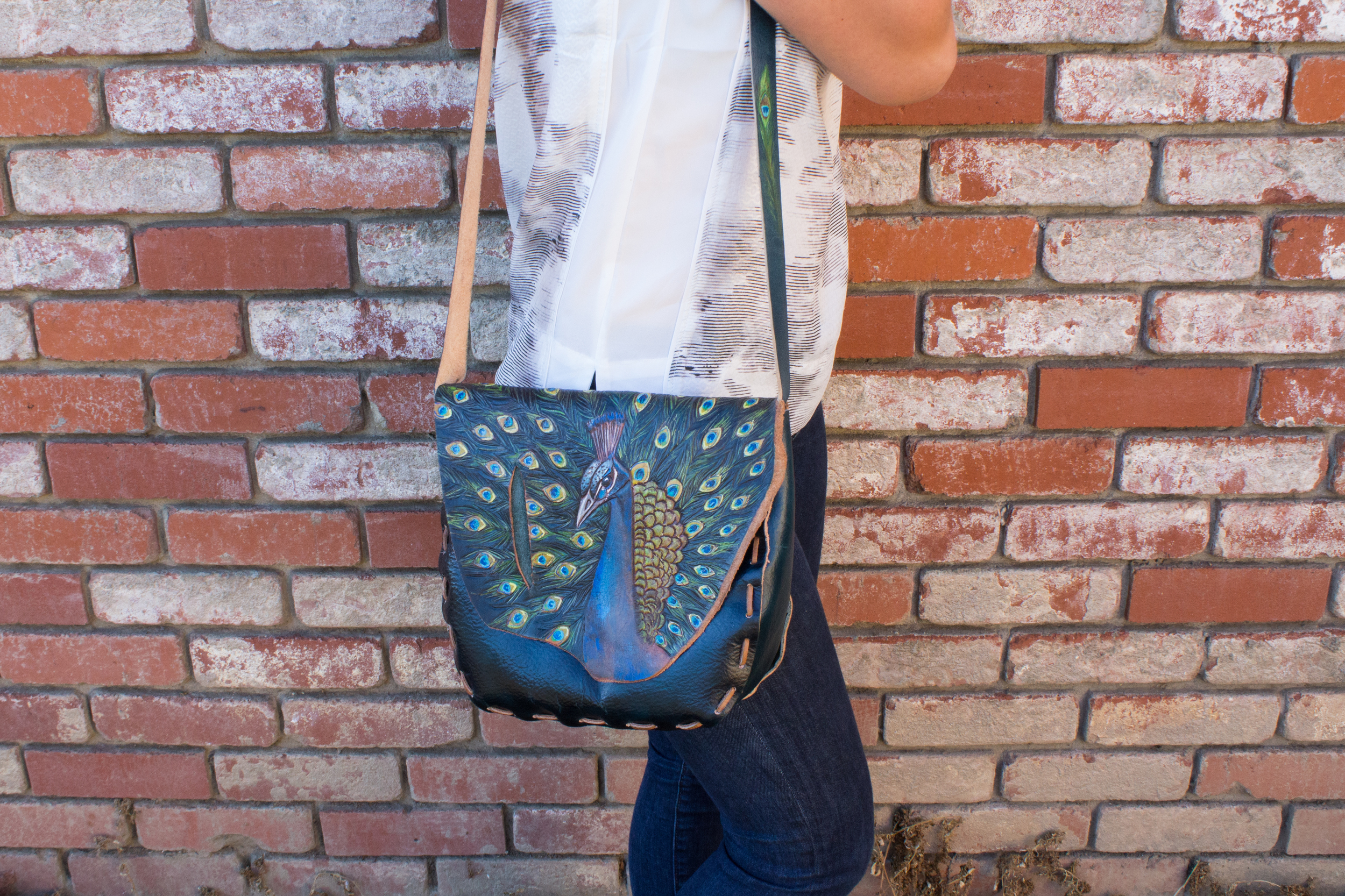 Peacock Purse Custom Leather-2