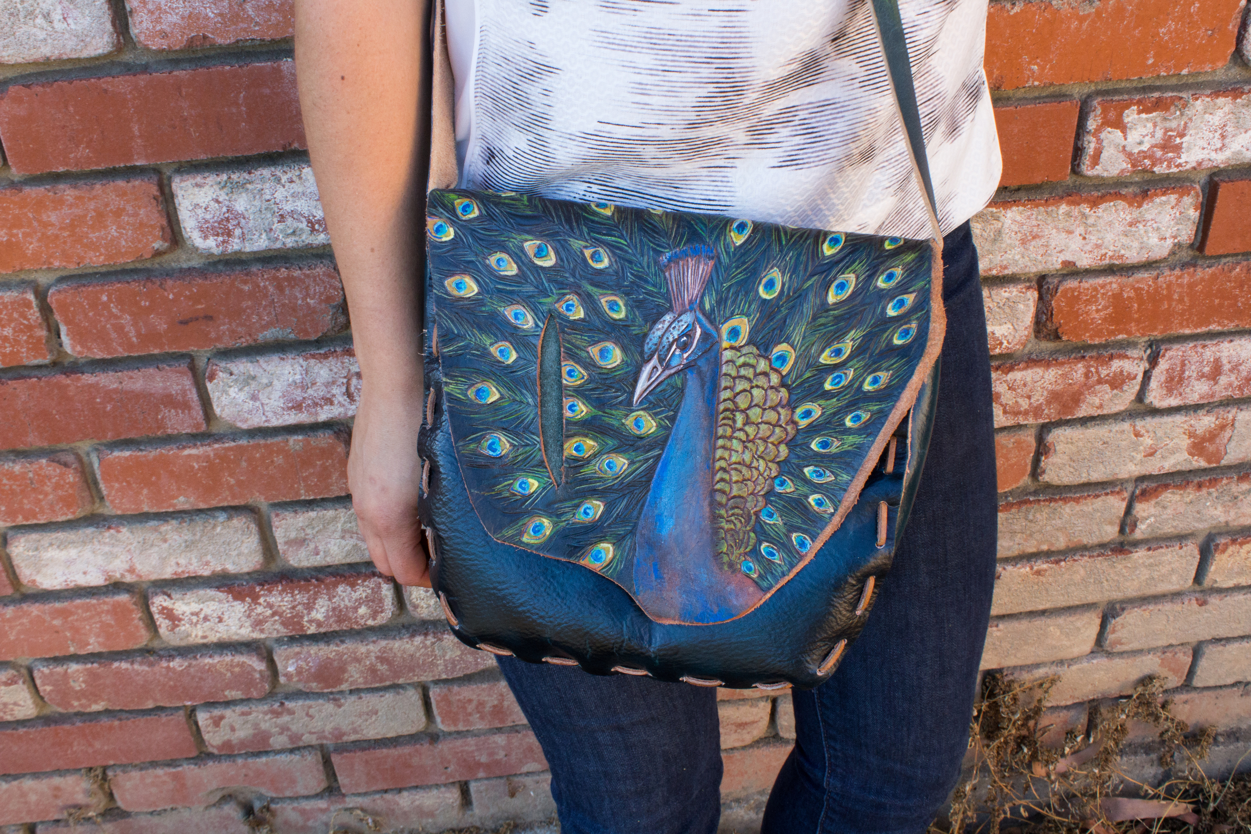Peacock Purse Custom Leather-3