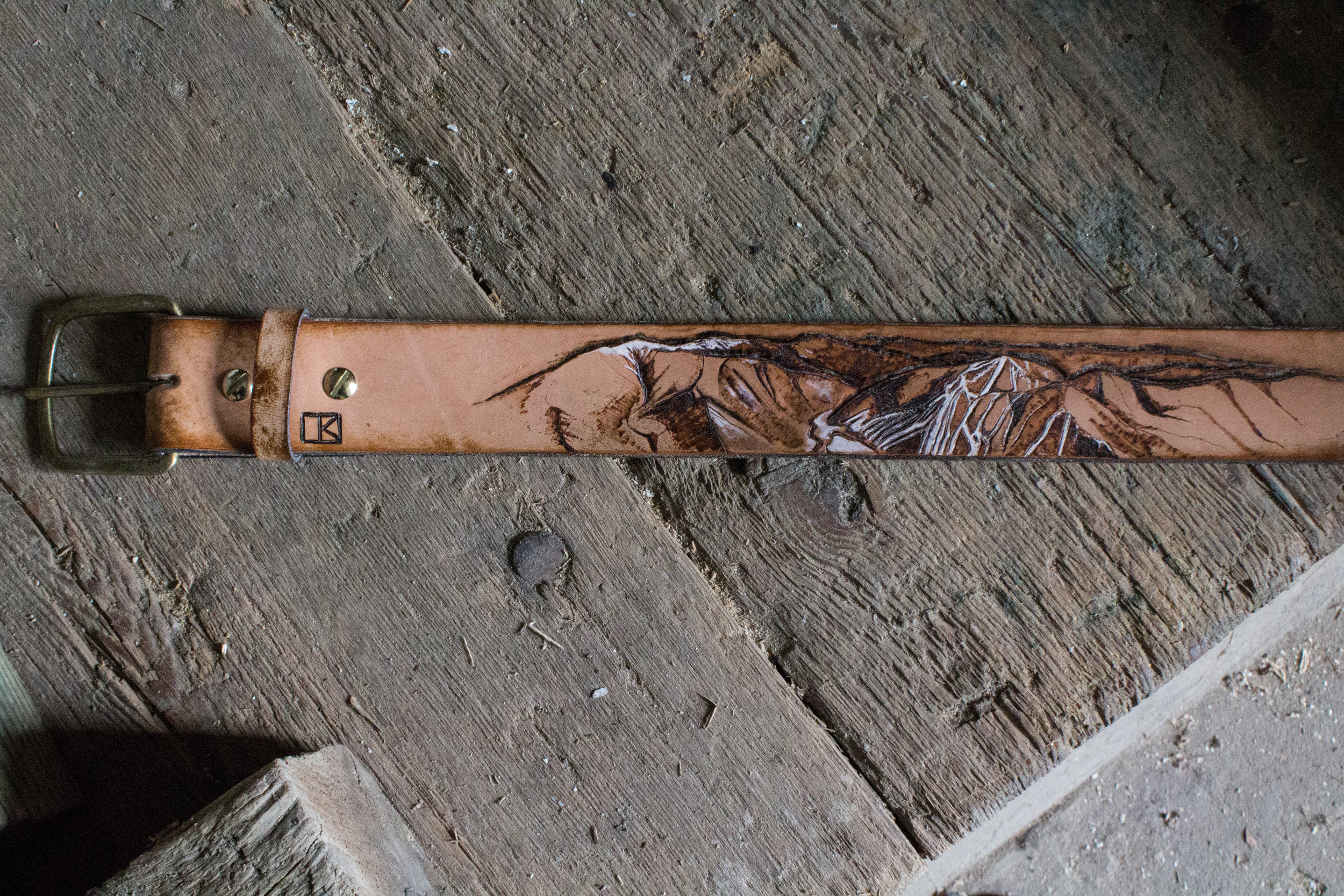 Cannon Mountain and Old Man On The Mountain Custom leather belt