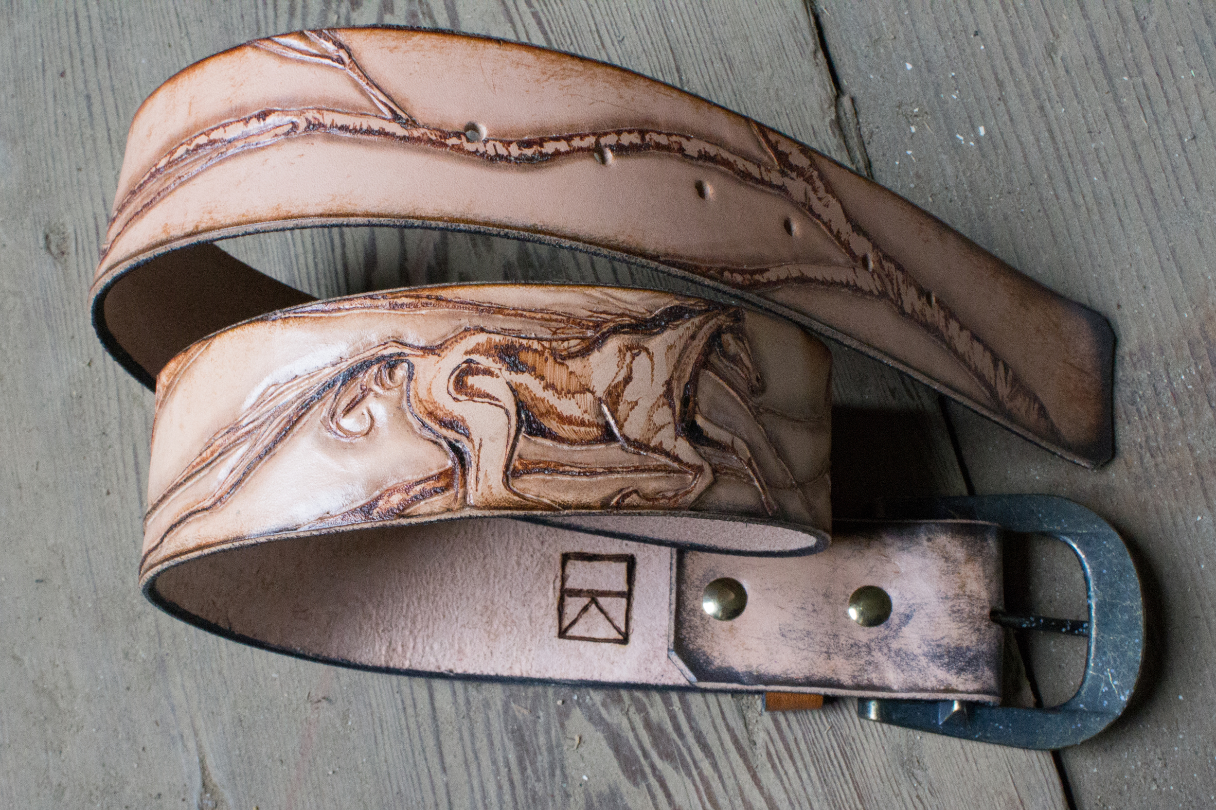 horse and raven leather belt-2