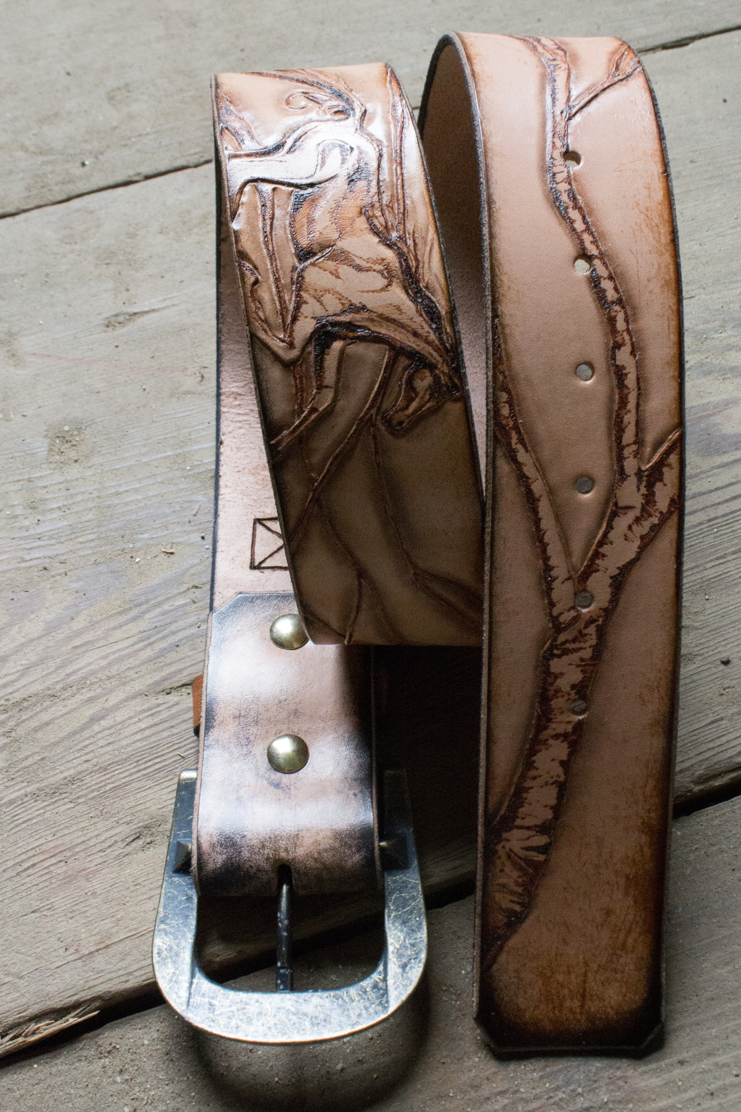 horse and raven leather belt-3