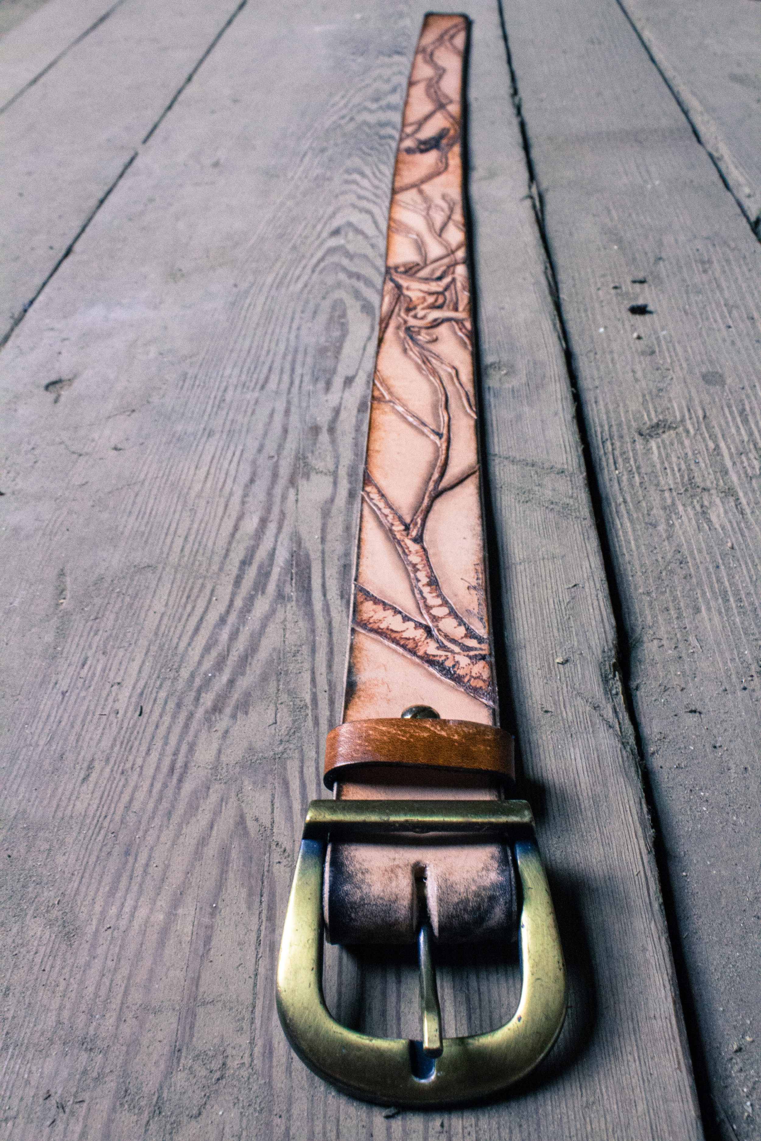 horse and raven leather belt-4