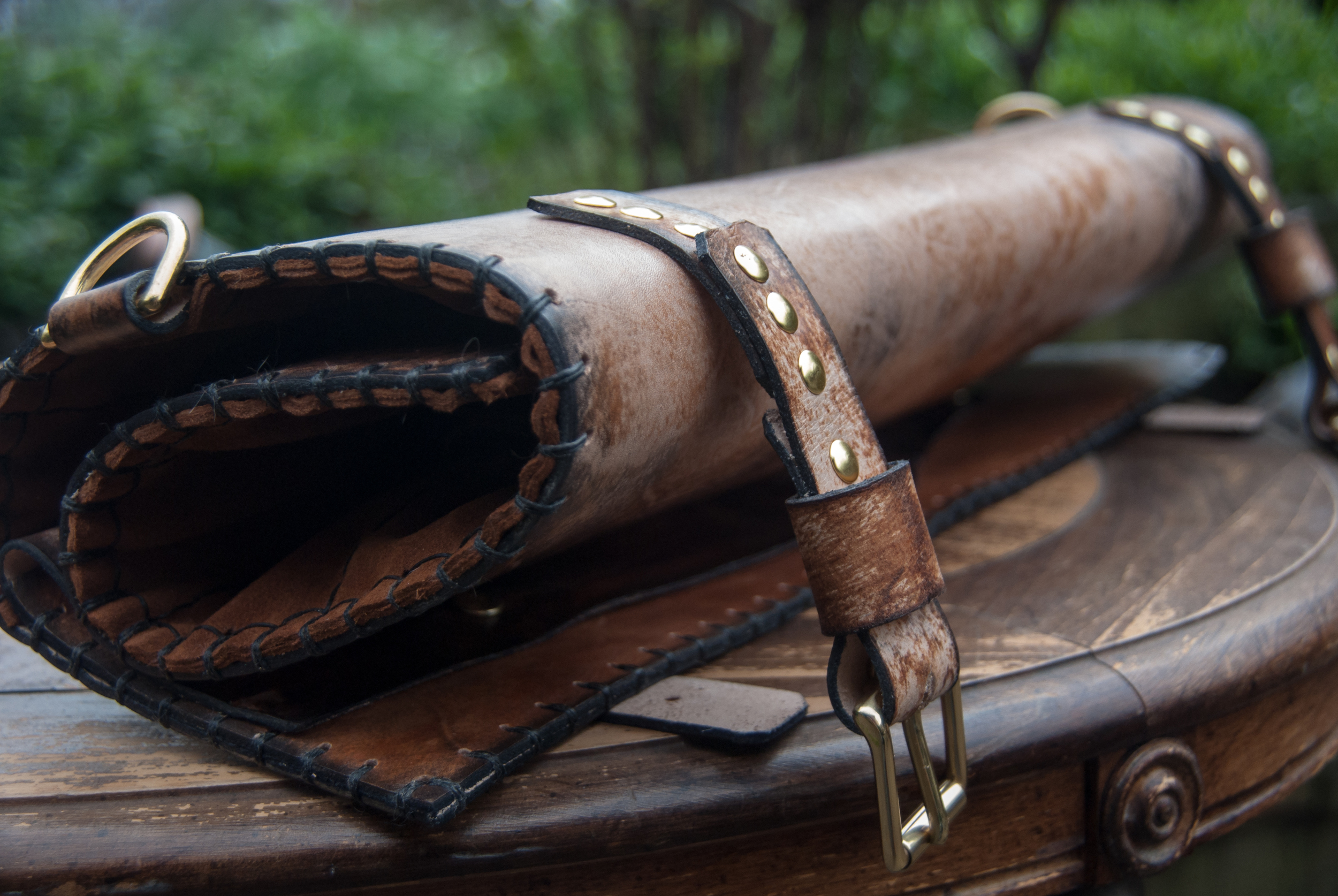 Leather chef roll with initials-18