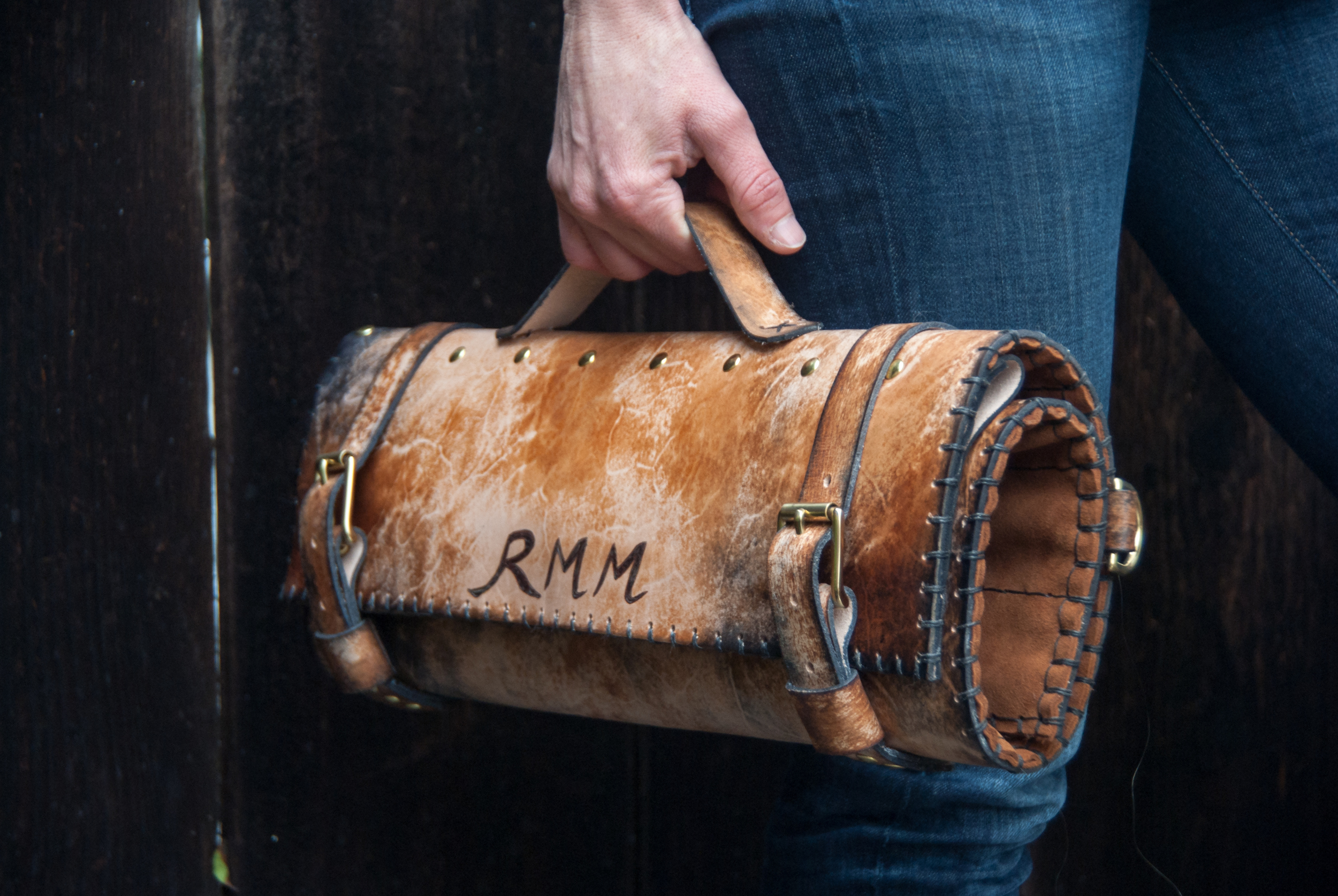 Leather chef roll with initials-22