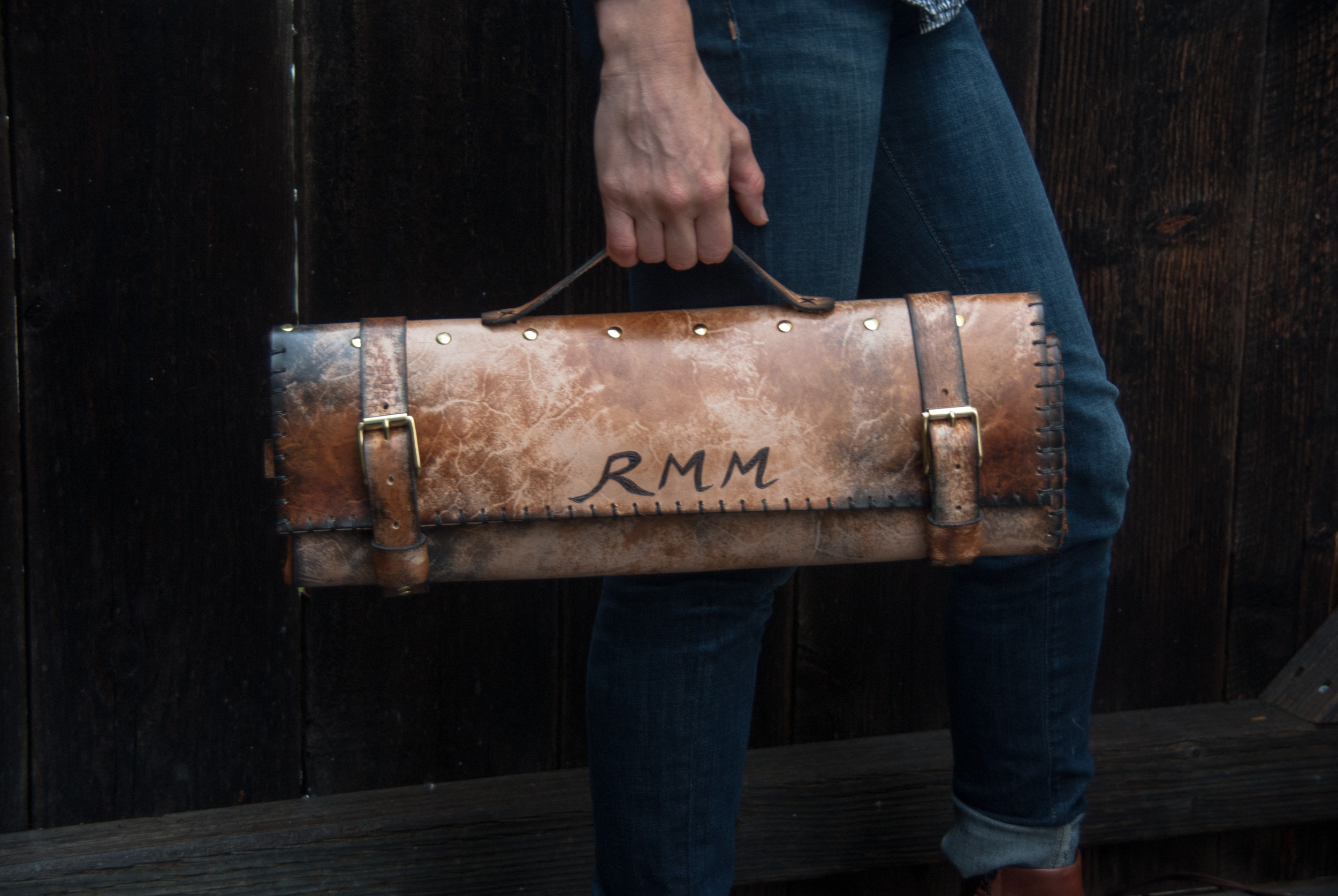 Leather chef roll with initials-23