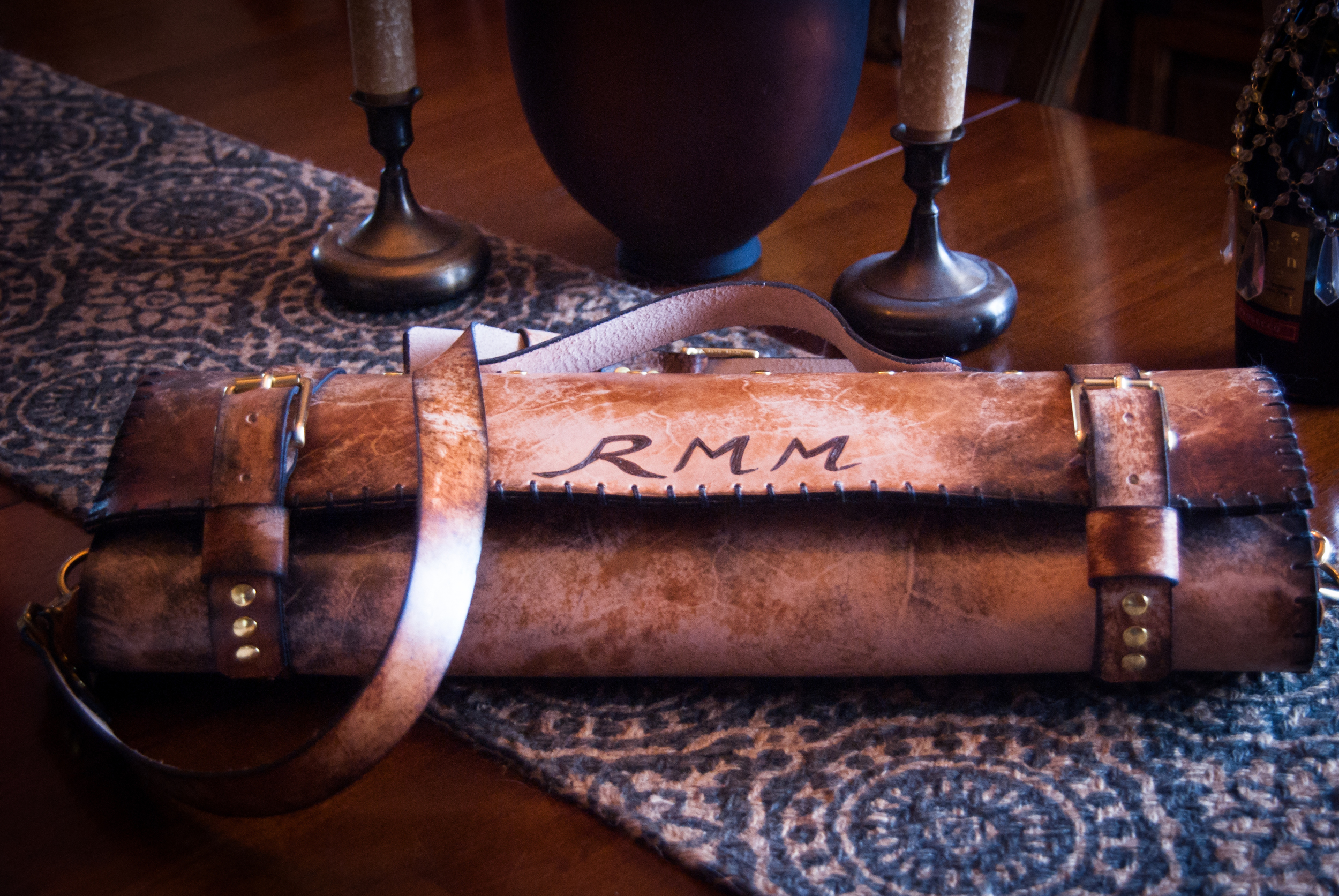 Leather chef roll with initials