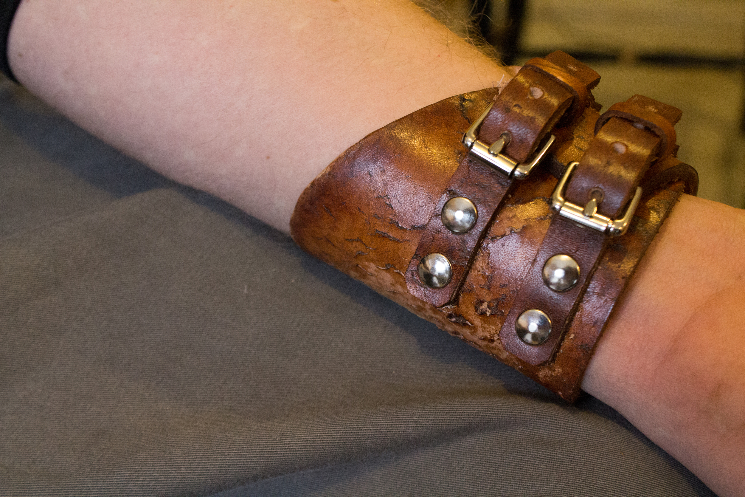 Rocker Cross Leather Buckle Cuff-4