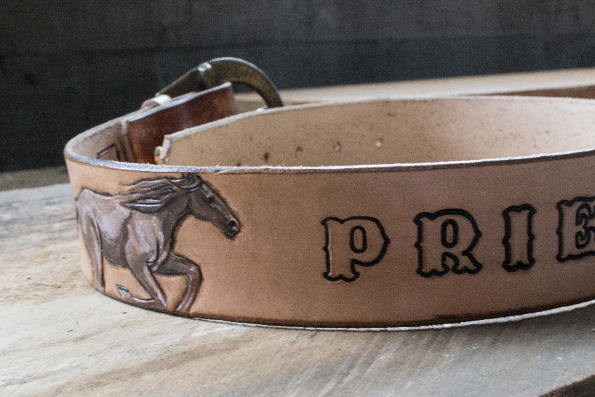 Running Horses Leather Belt and horse wristlet-12