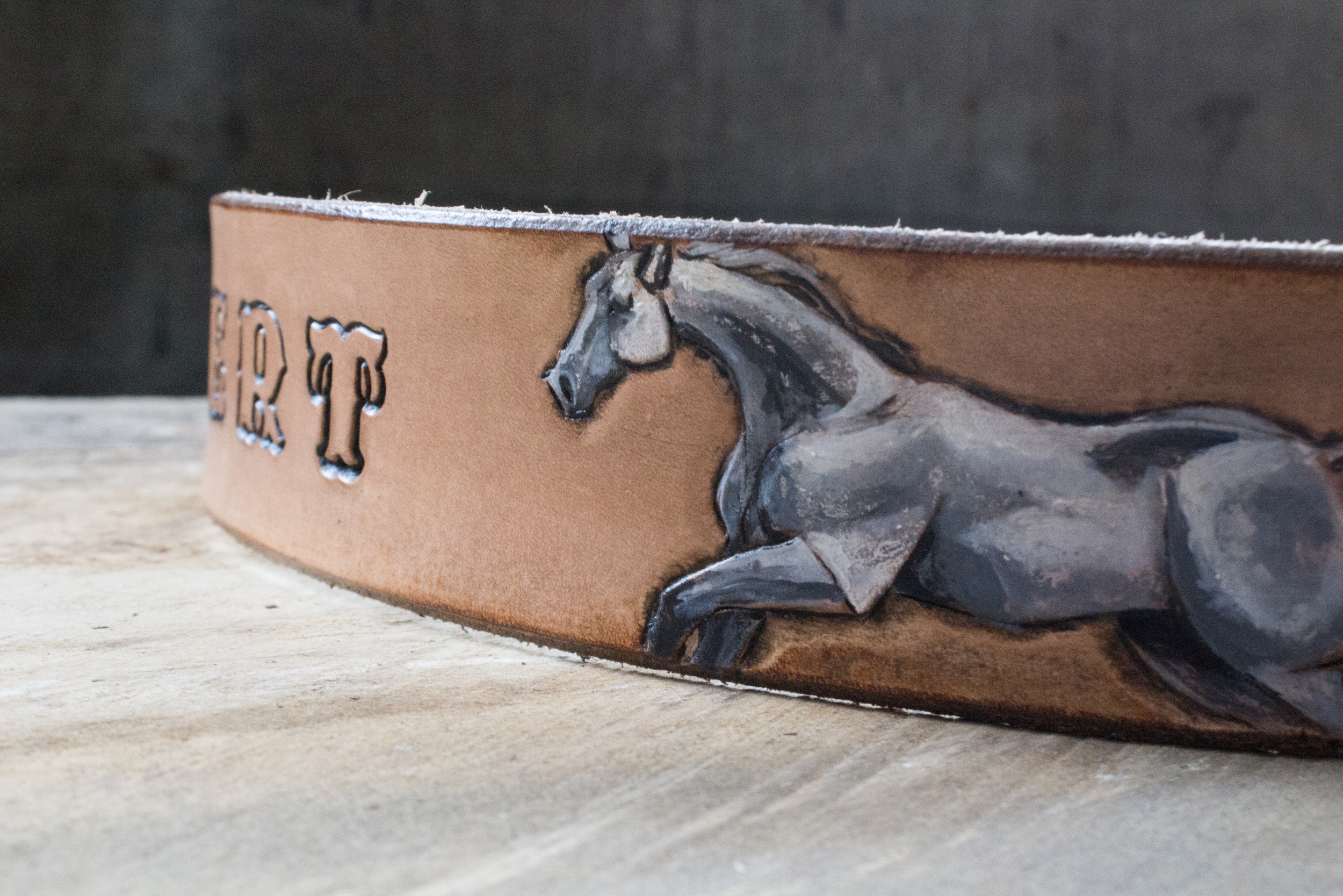 Running Horses Leather Belt and horse wristlet-13