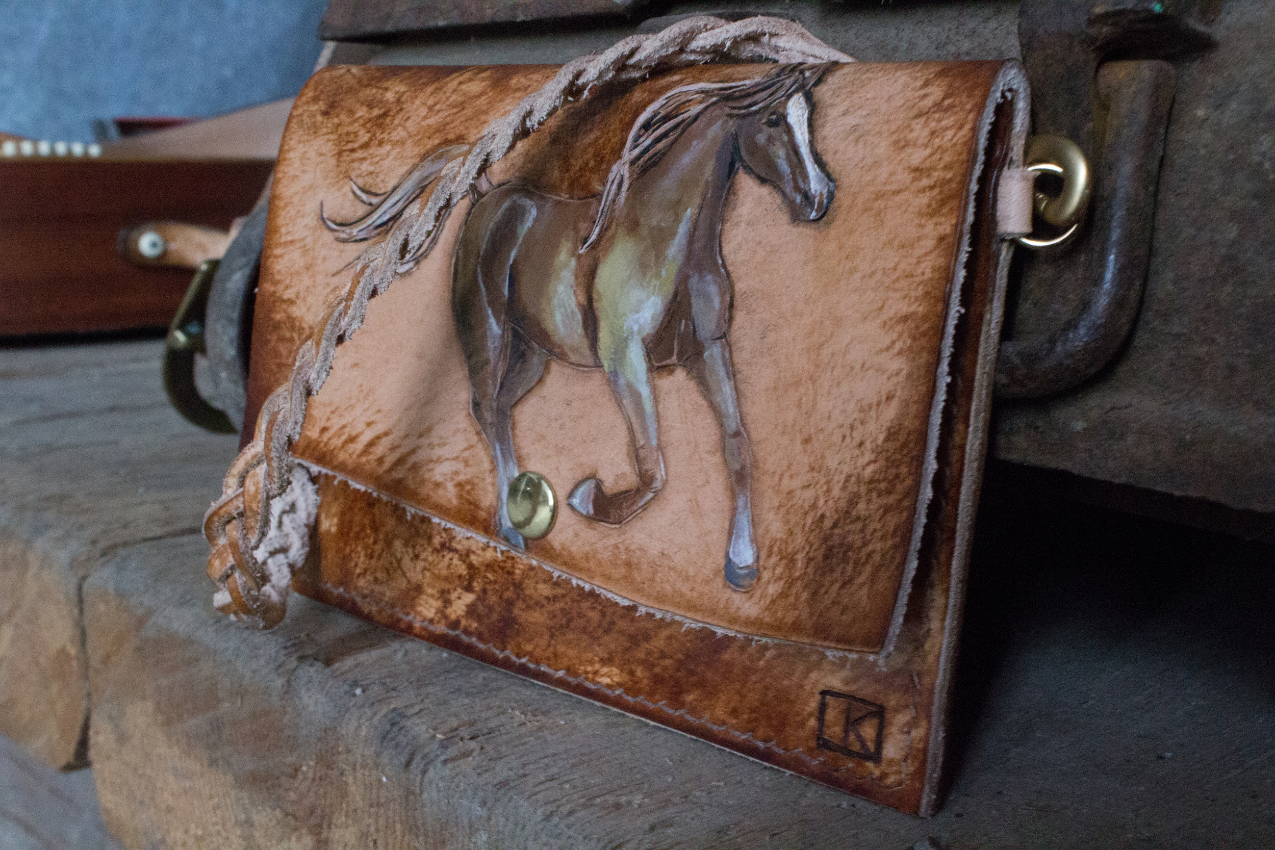 Running Horses Leather Belt and horse wristlet-4