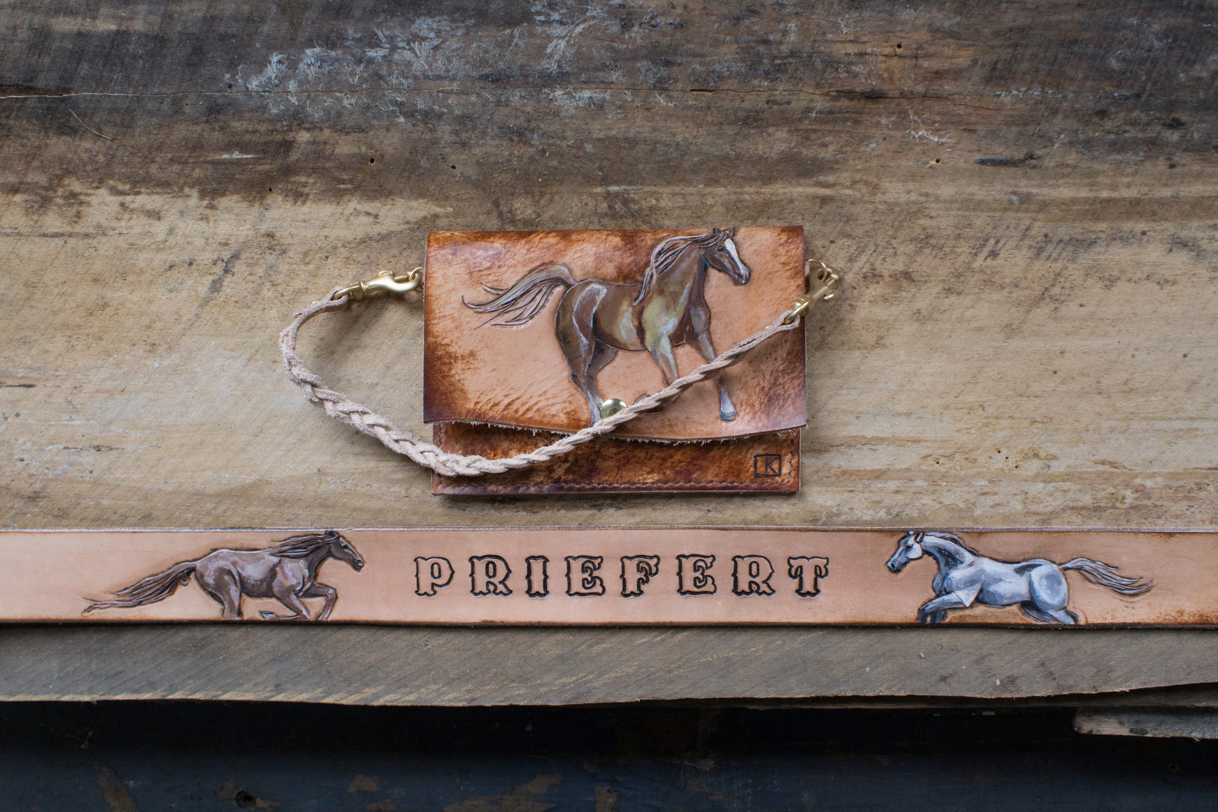 Running Horses Leather Belt and horse wristlet-8