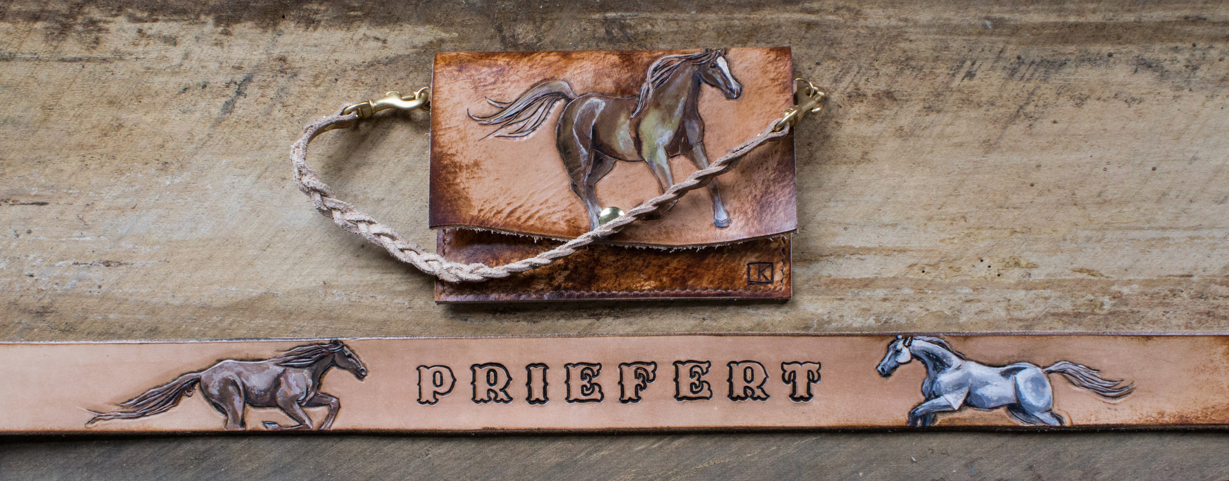 Running Horses Leather Belt and horse wristlet-9